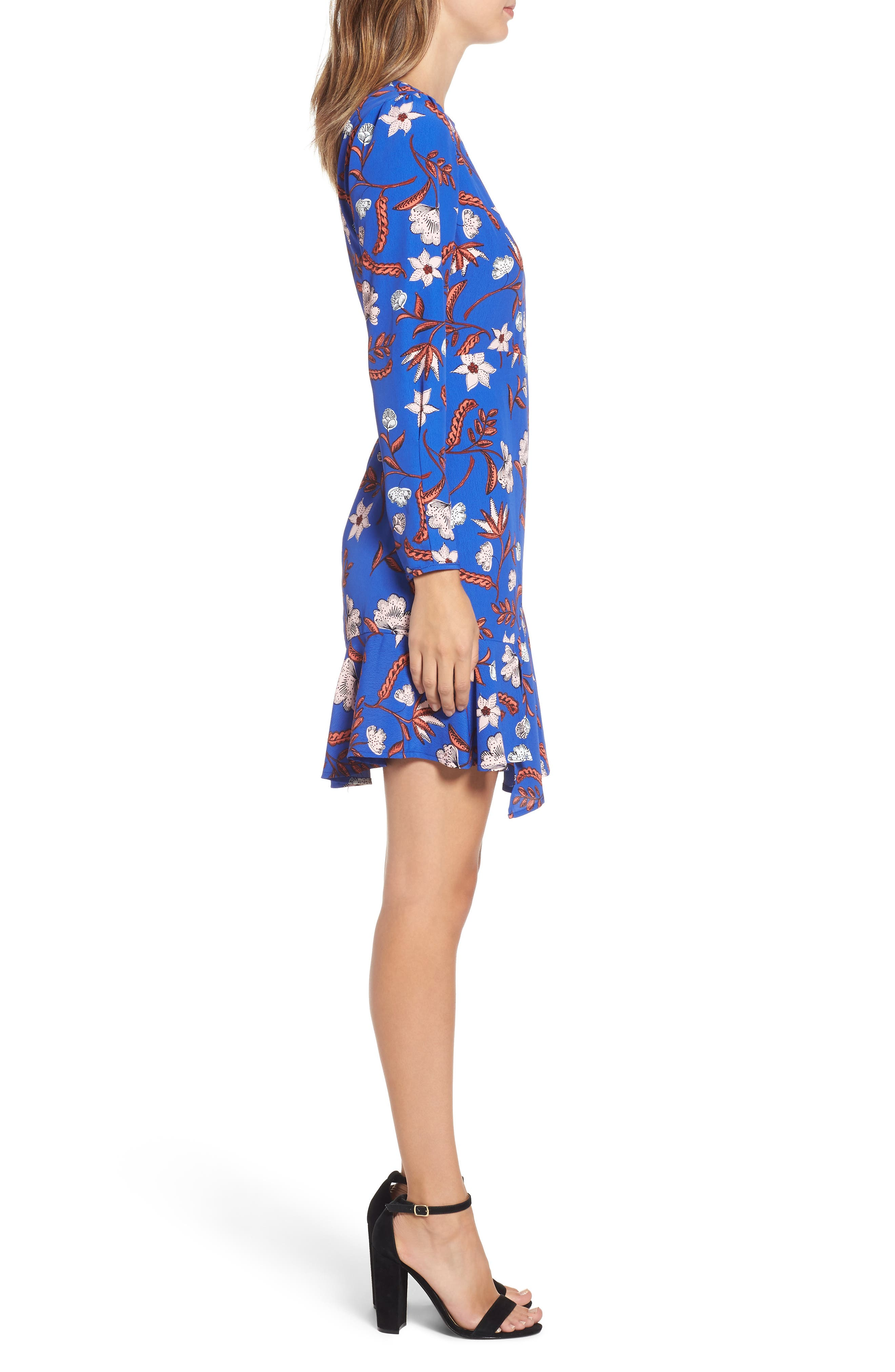 Asymmetrical Ruffle Hem Dress,                             Alternate thumbnail 3, color,                             BLUE FLORAL