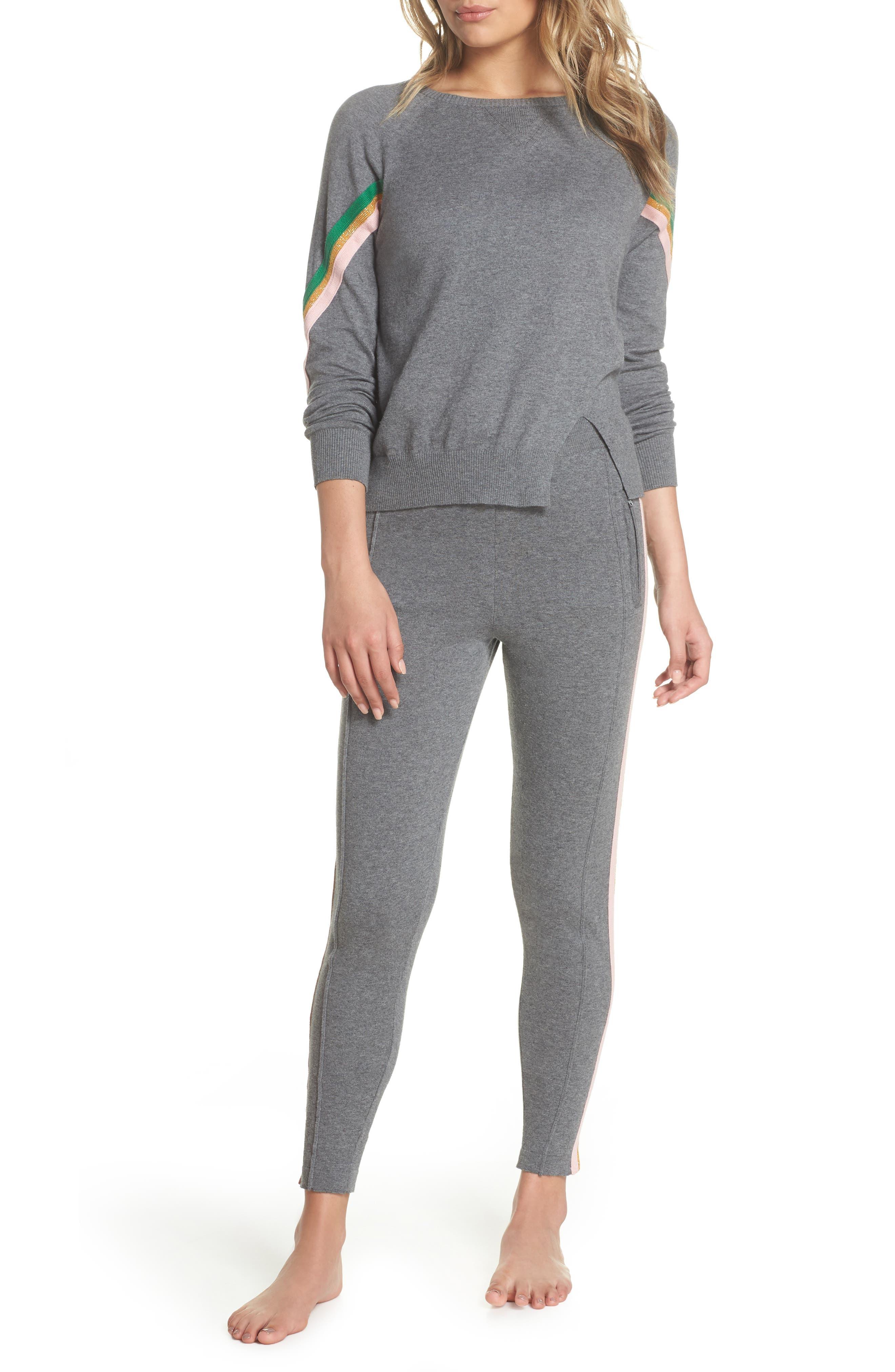 Rainbow Stripe Crop Sweatpants,                             Alternate thumbnail 7, color,