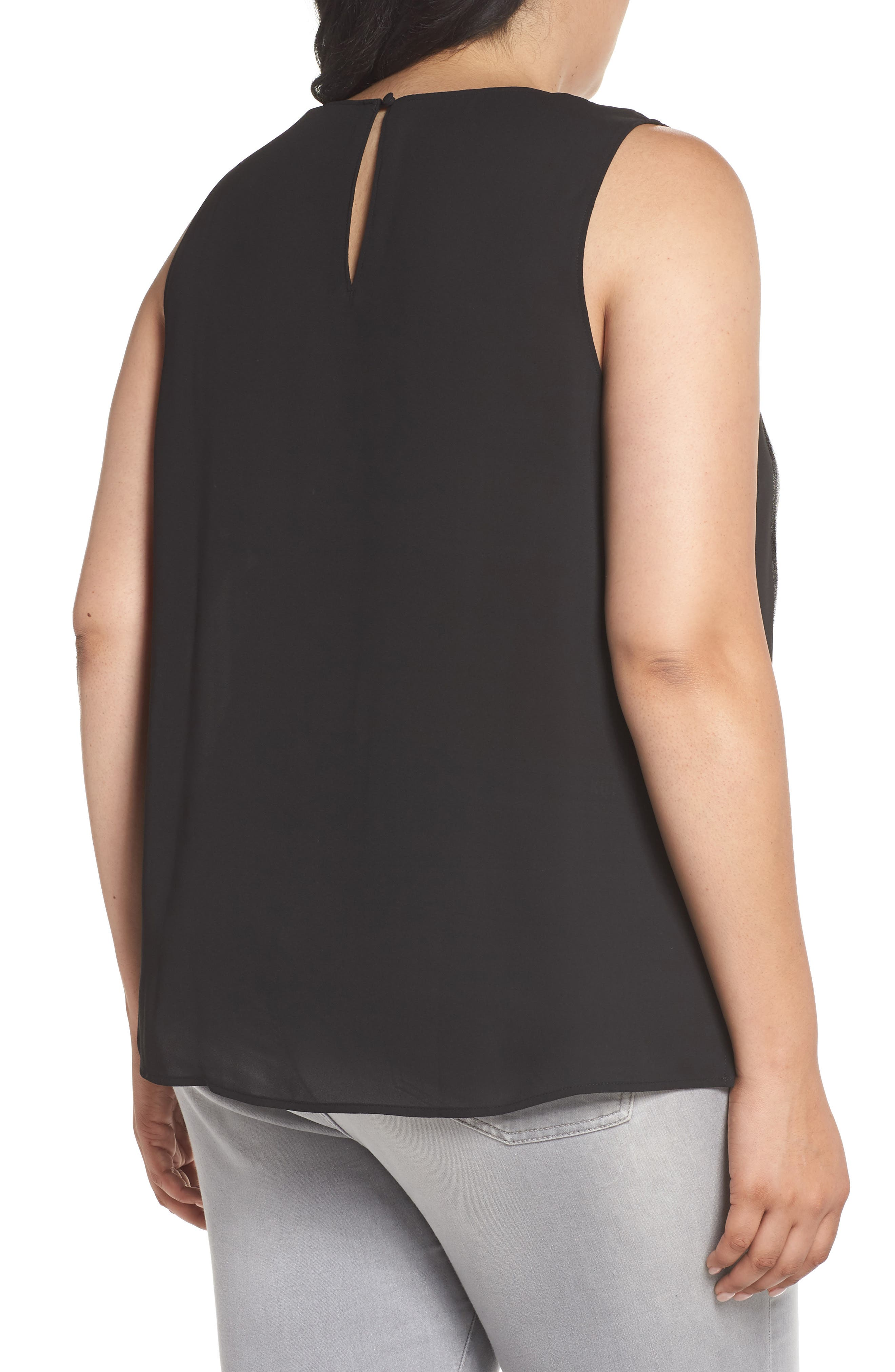 Ruffle Front Tank,                             Alternate thumbnail 2, color,                             001