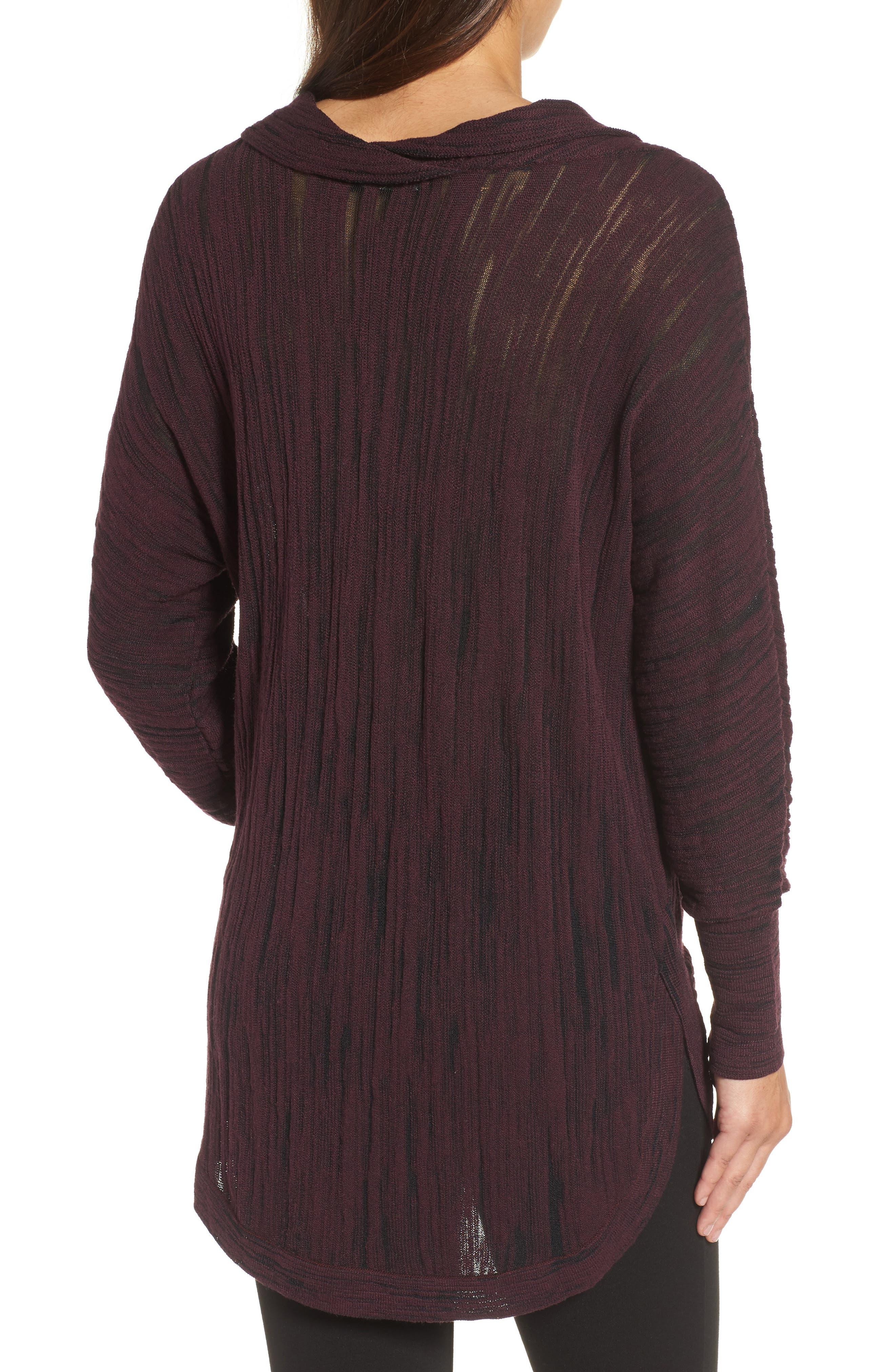 Cowl Neck Open Stitch Sweater,                             Alternate thumbnail 2, color,                             WINE