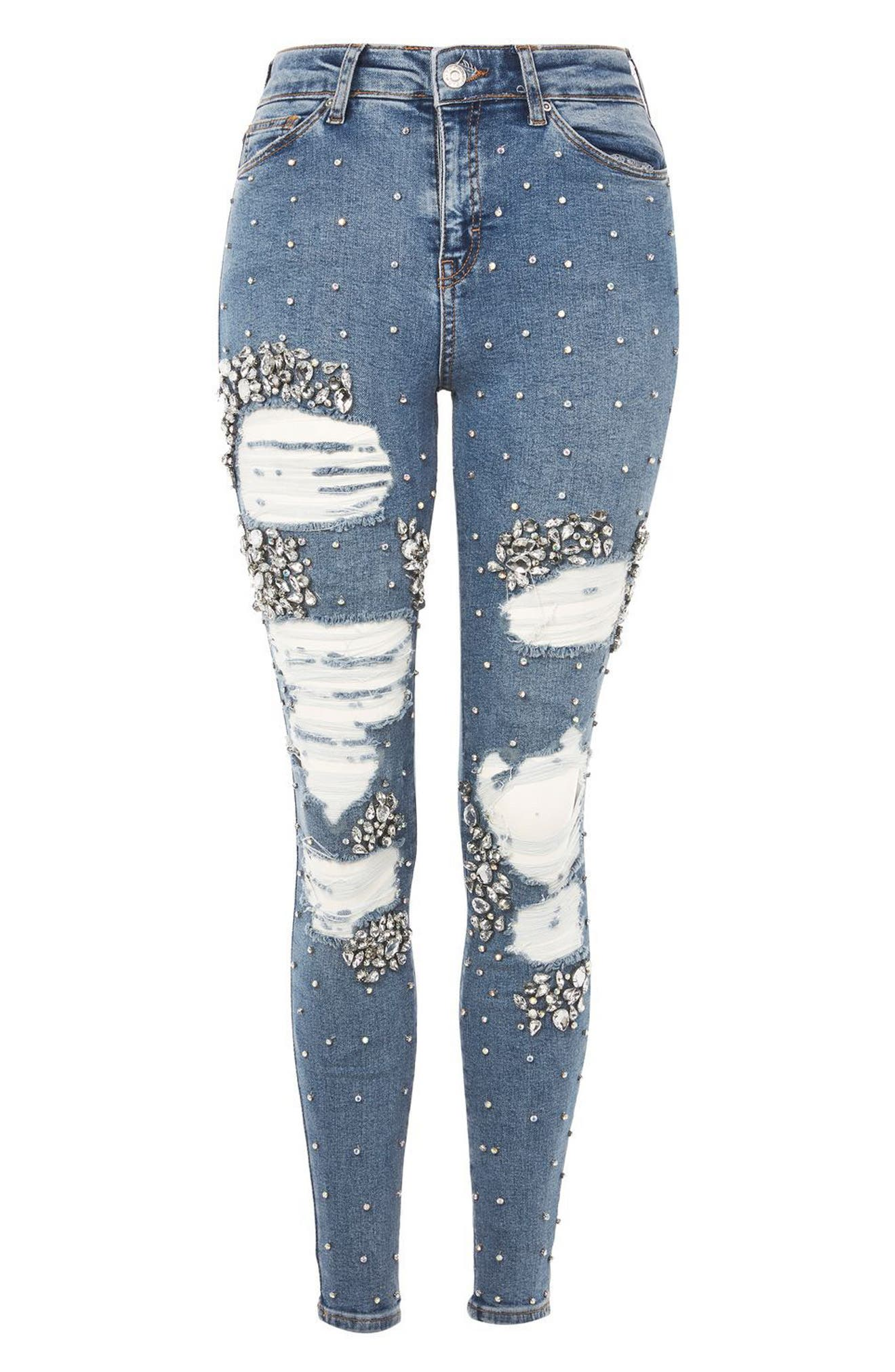 Limited Edition Jamie Gem Encrusted Skinny Jeans,                             Alternate thumbnail 4, color,                             400