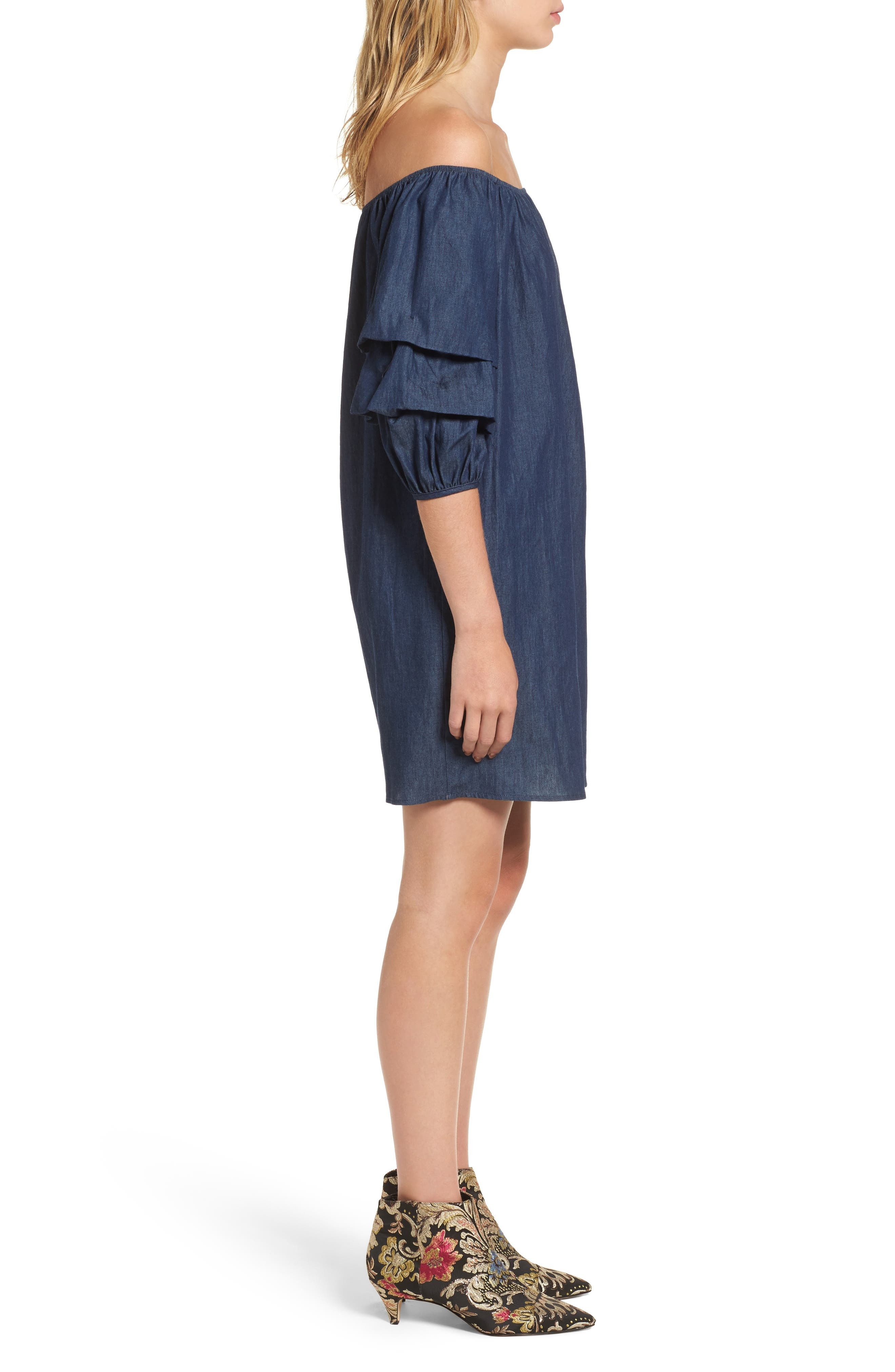 Off the Shoulder Denim Dress,                             Alternate thumbnail 3, color,                             401