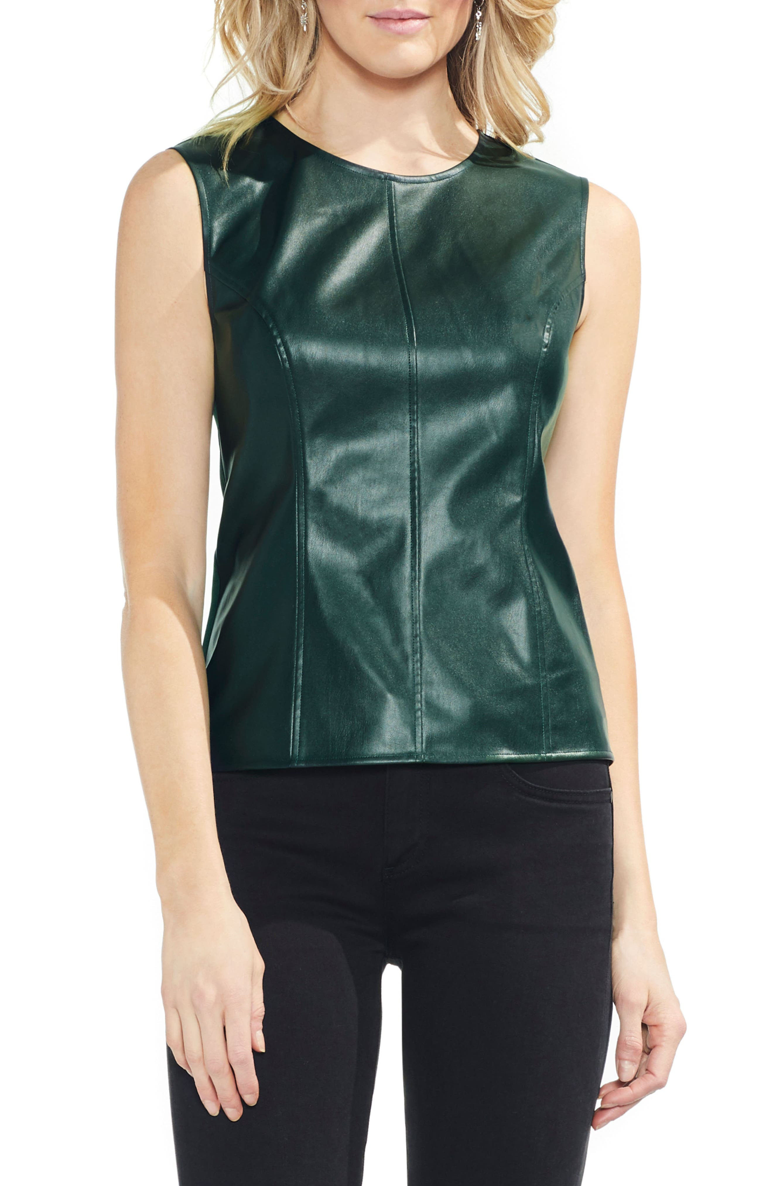 Faux Leather Front Shell,                             Main thumbnail 1, color,                             HUNTER
