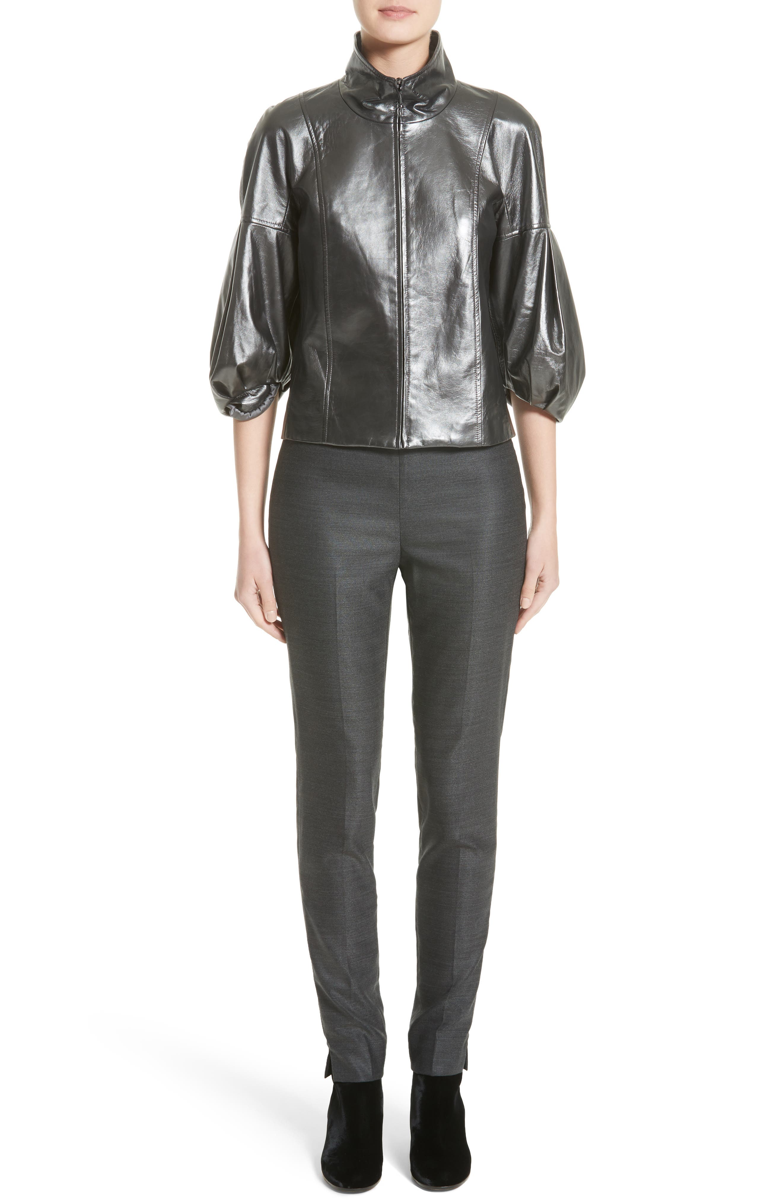 Pearlized Nappa Leather Jacket,                             Alternate thumbnail 7, color,                             020