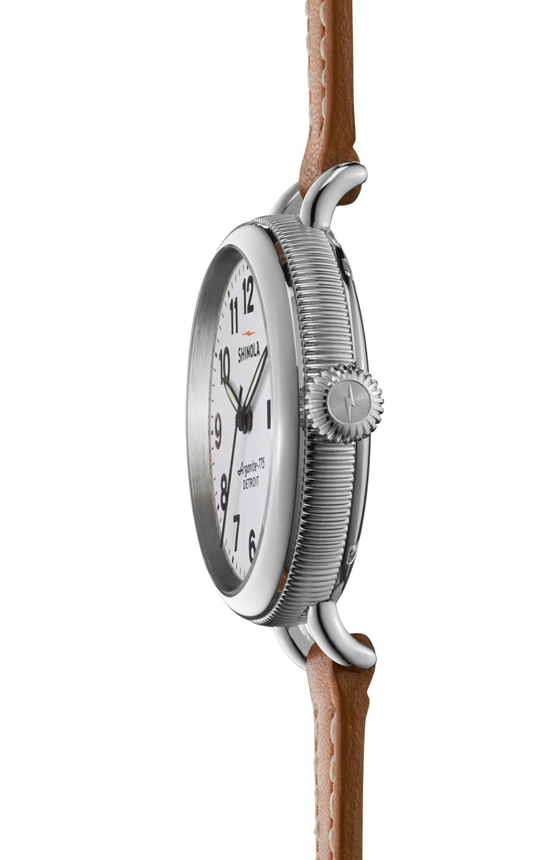 'The Birdy' Double Wrap Leather Strap Watch, 34mm,                             Alternate thumbnail 3, color,                             NATURAL/ WHITE