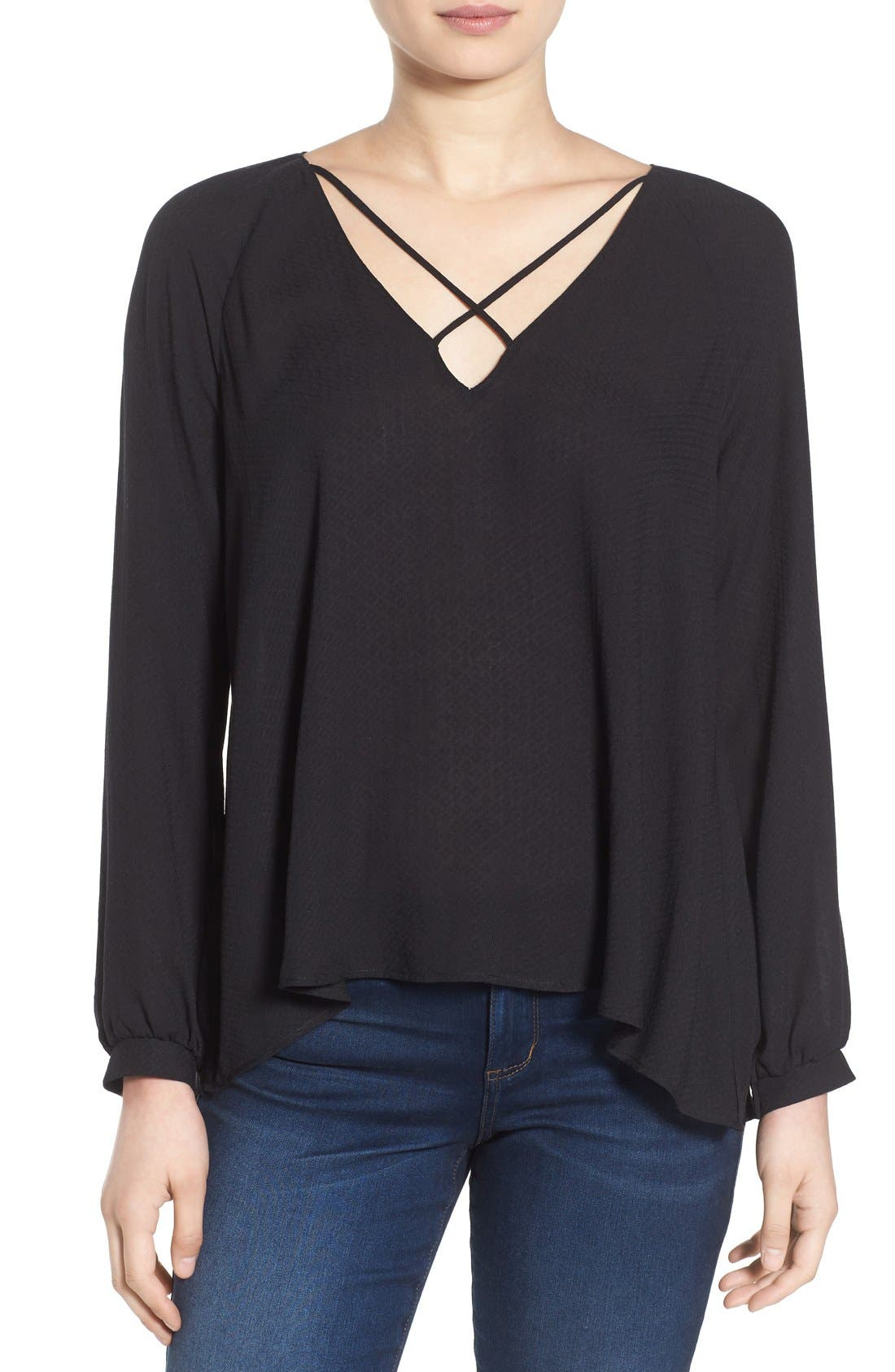 ---,                             Strappy Long Sleeve Woven Blouse,                             Main thumbnail 1, color,                             001