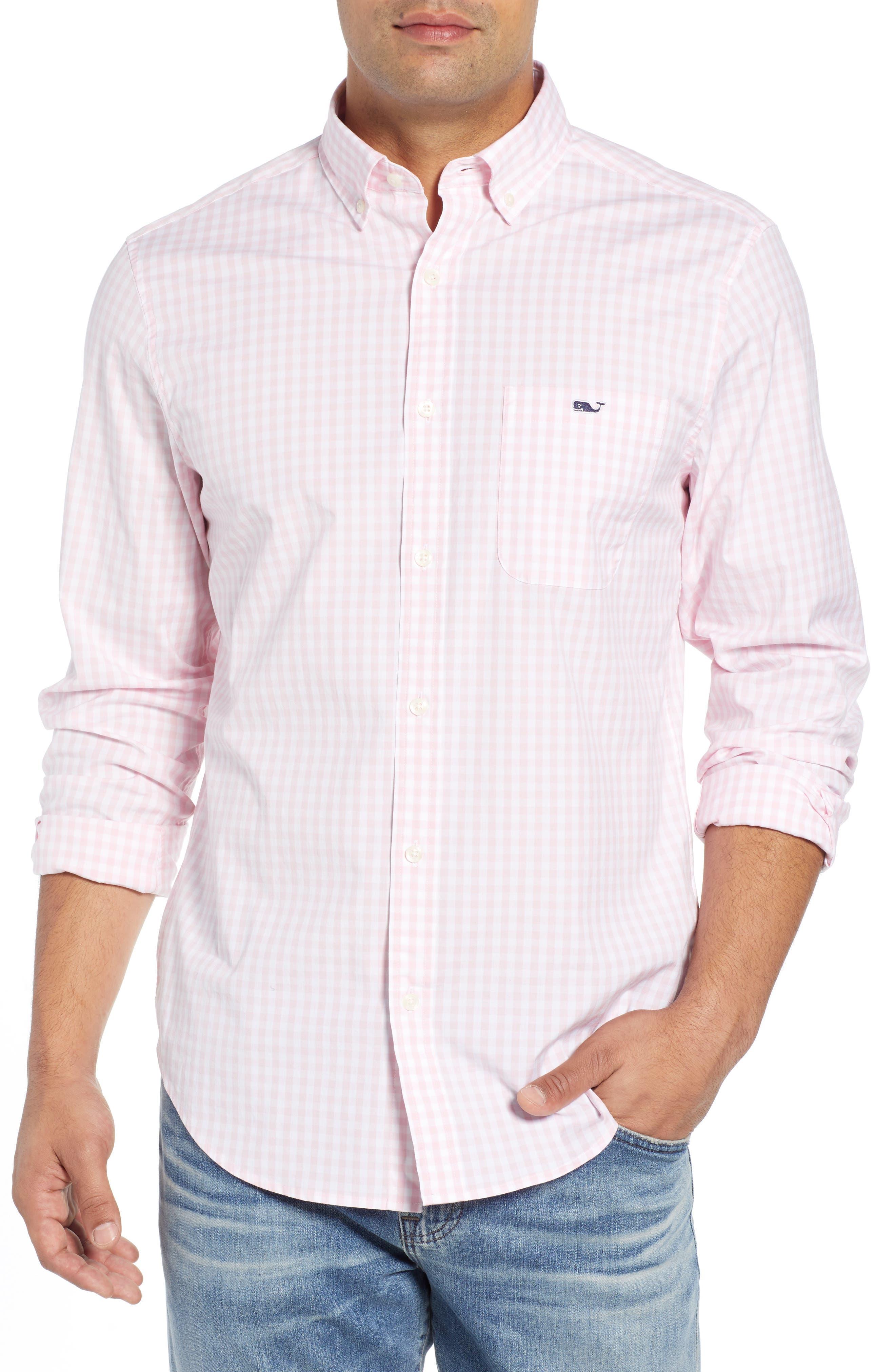 Carleton Classic Fit Gingham Buttondown Shirt, Main, color, FLAMINGO