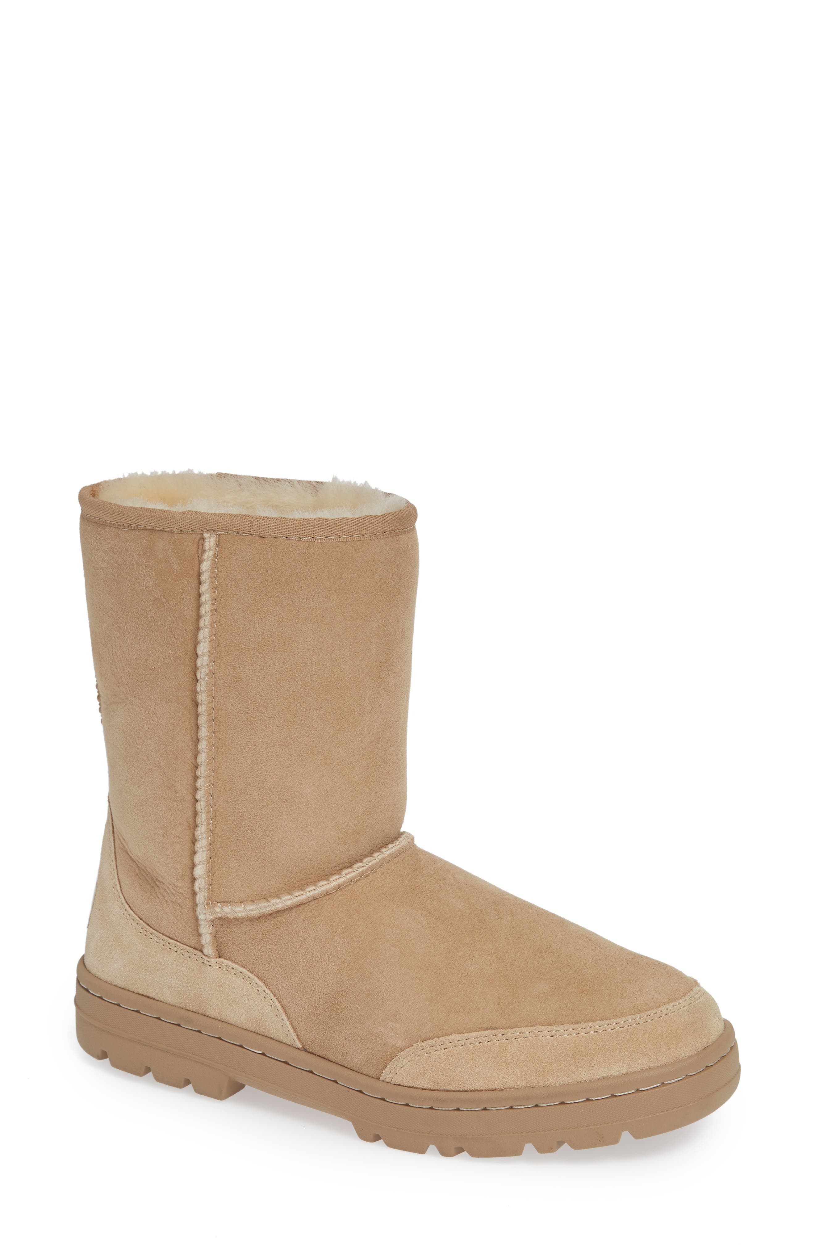 Ugg Ultra Revival Genuine Shearling Short Boot in Sand