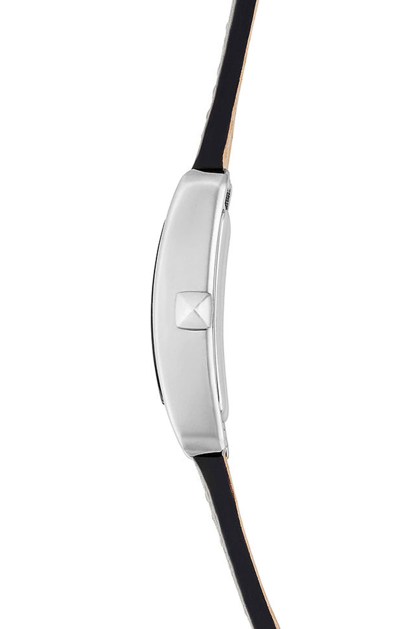 Moment Leather Strap Watch, 19mm x 30mm,                             Alternate thumbnail 3, color,                             PUTTY/ WHITE/ SILVER