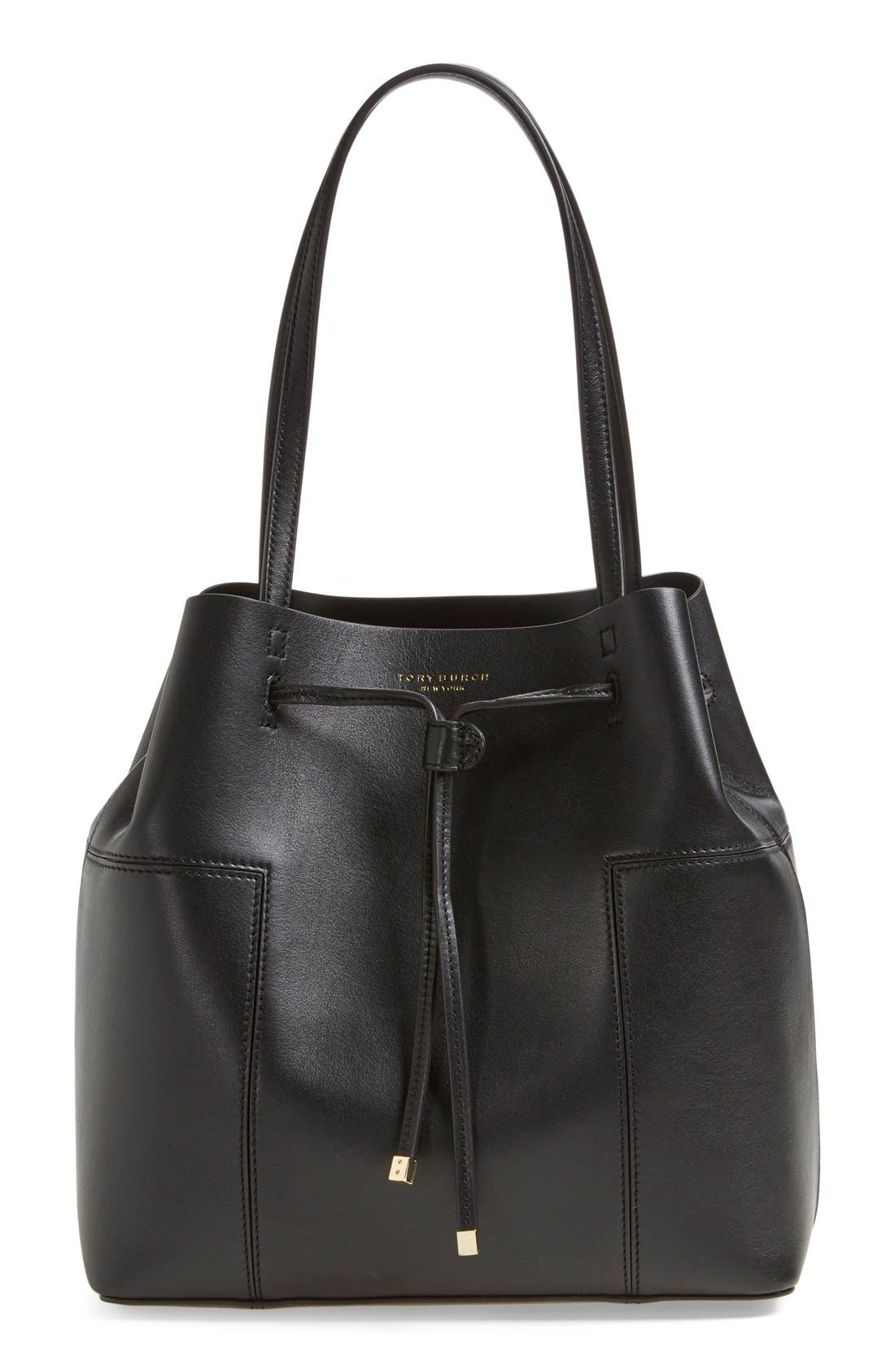 'Block-T' Leather Drawstring Tote,                         Main,                         color, 009