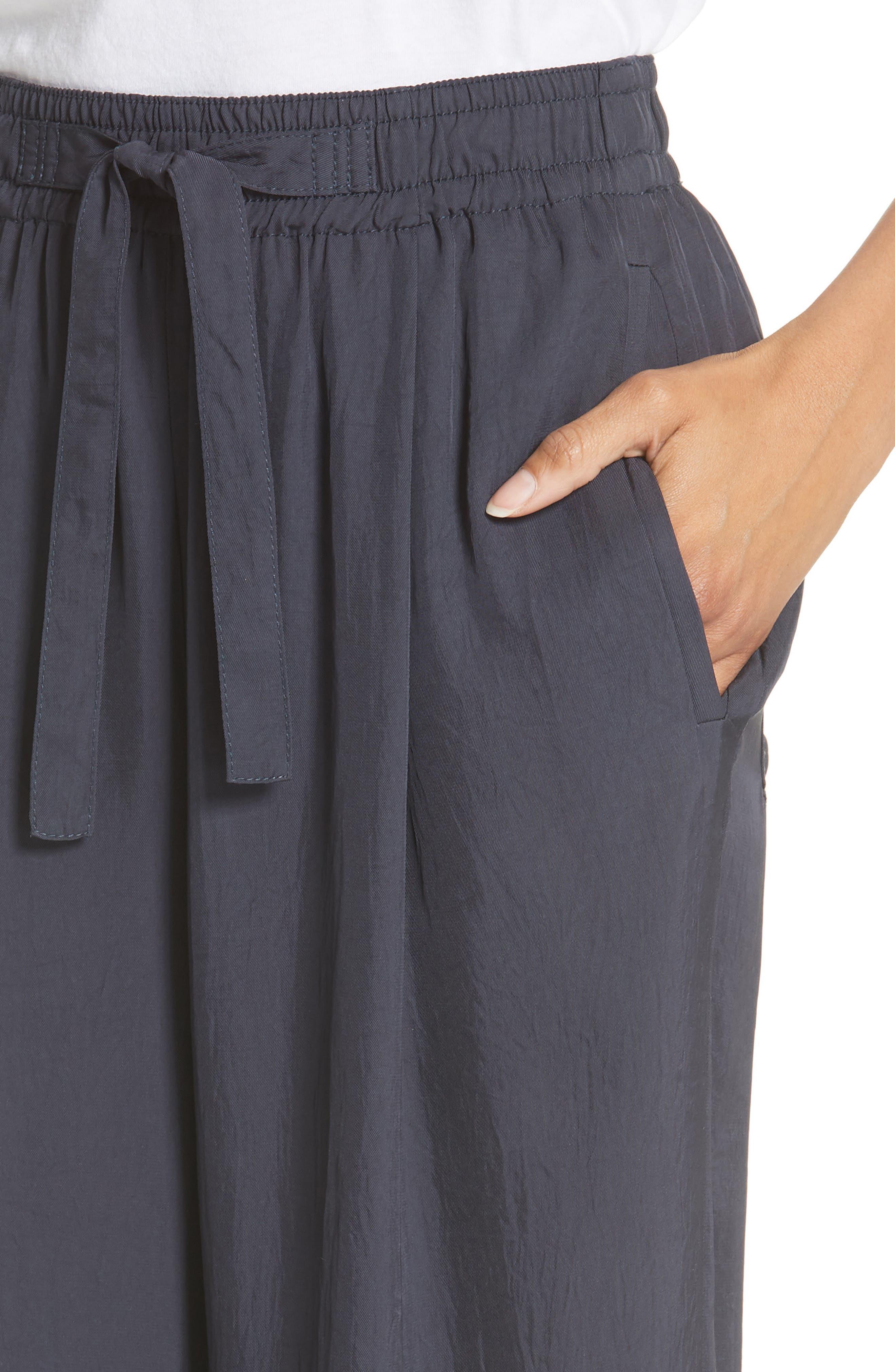Tie Front Wide Leg Pants,                             Alternate thumbnail 4, color,                             COASTAL