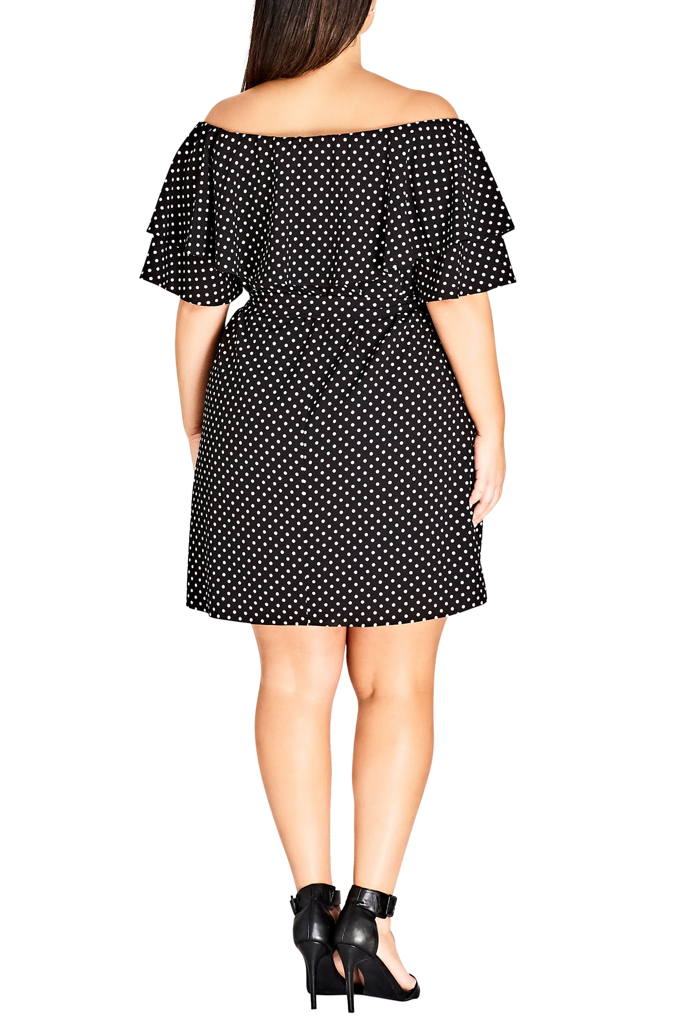 Flutter Sleeve Print Off the Shoulder Dress,                             Alternate thumbnail 2, color,                             SPOT