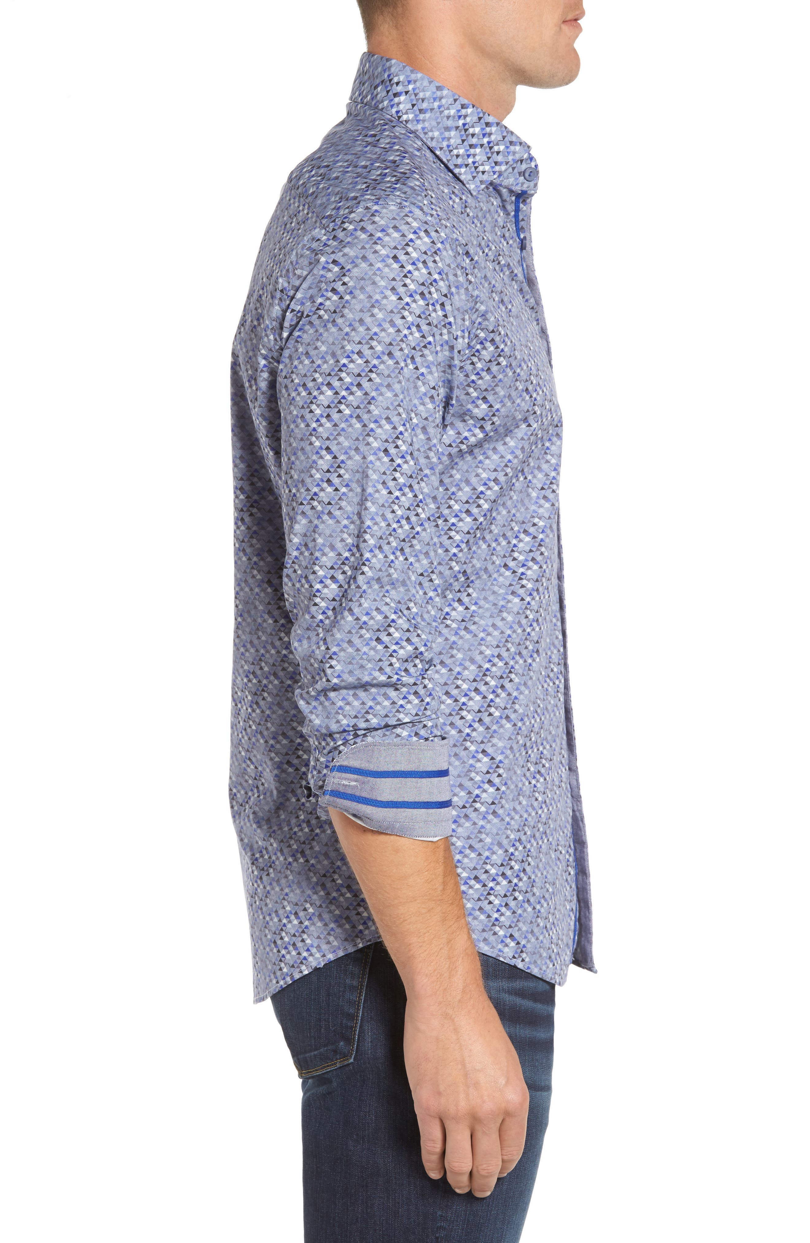 Slim Fit Triangle Print Sport Shirt,                             Alternate thumbnail 3, color,                             020