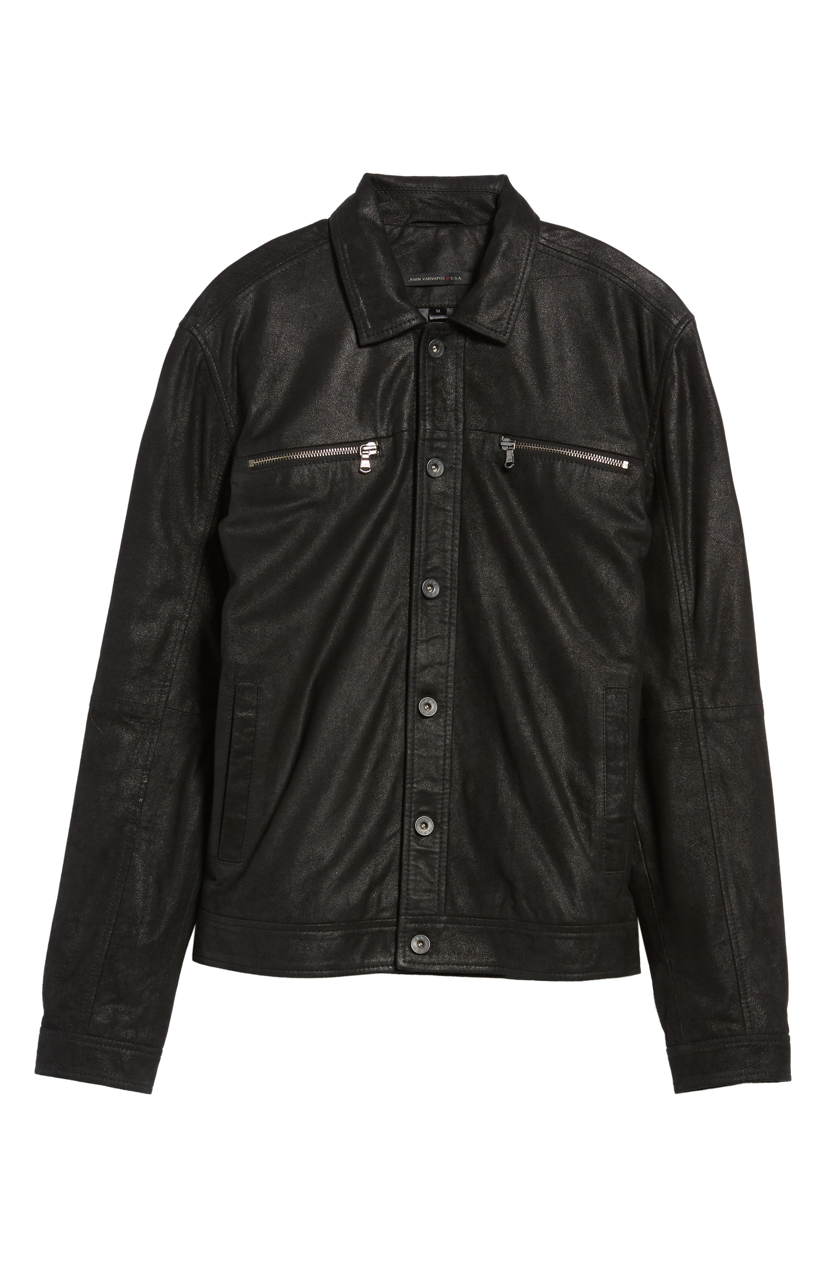 Leather Trucker Jacket,                             Alternate thumbnail 5, color,                             001