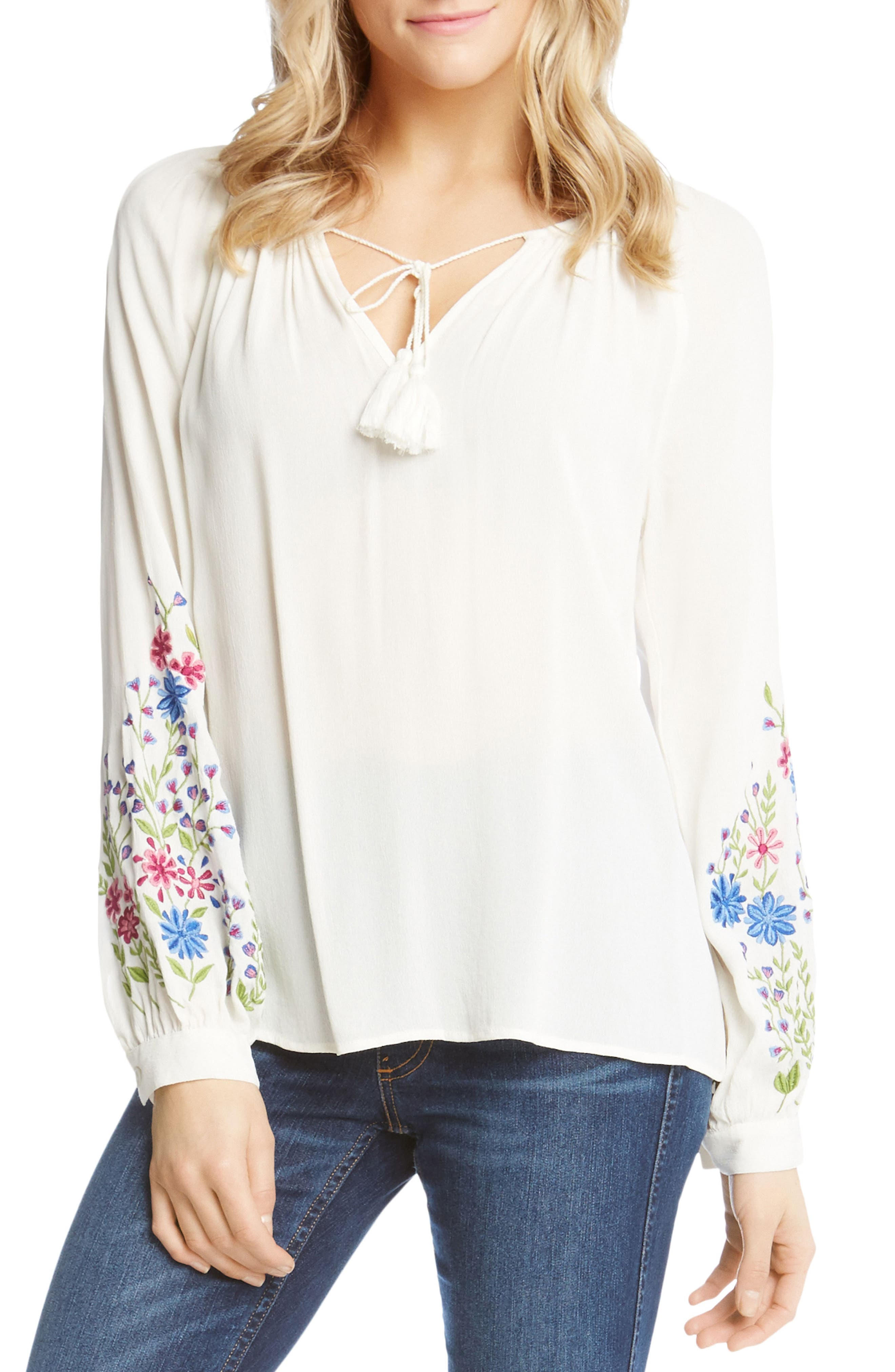 Embroidered Peasant Blouse,                             Main thumbnail 1, color,                             OFF WHITE