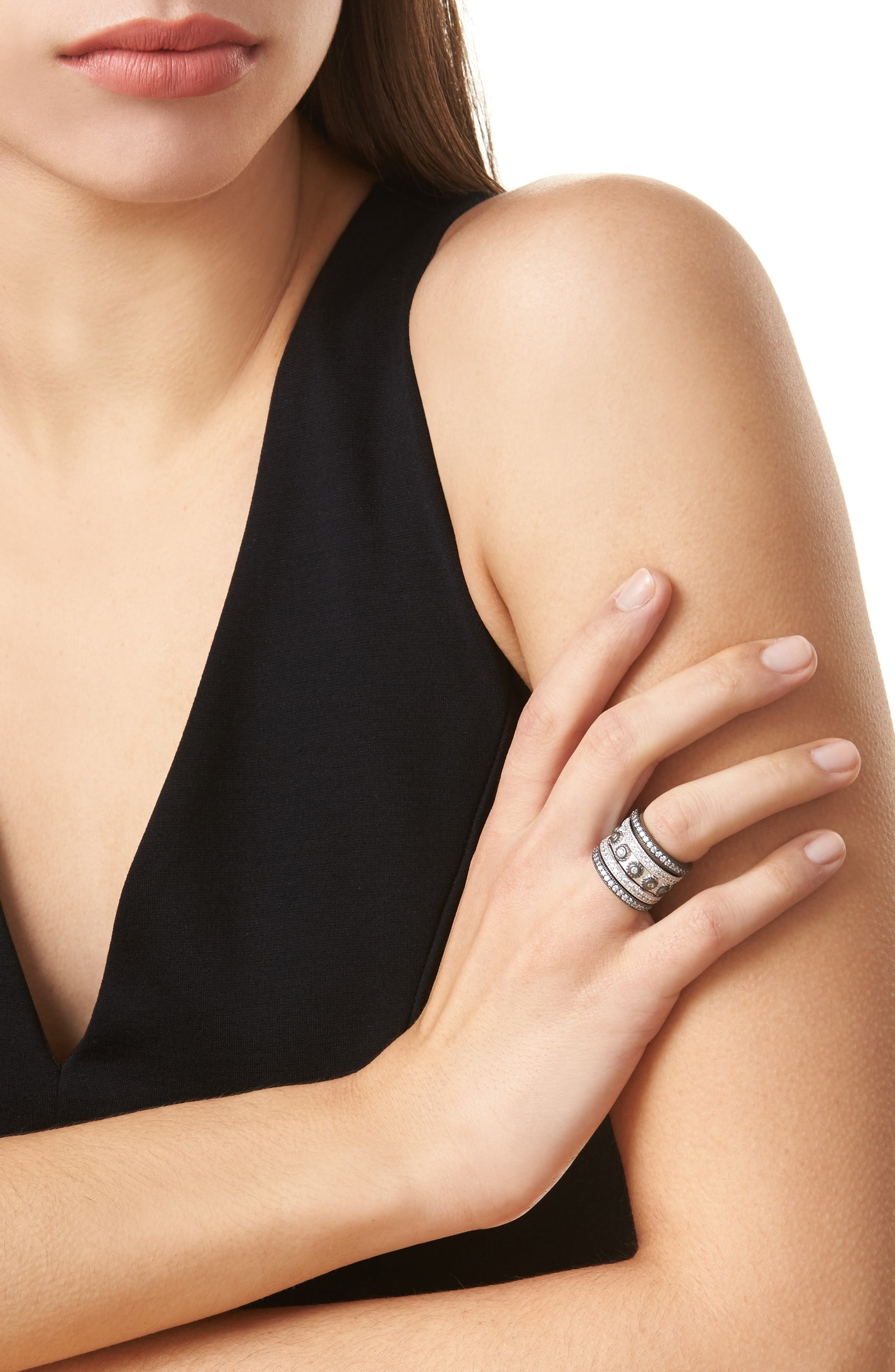 'Contemporary Deco' Stacking Rings,                             Alternate thumbnail 2, color,                             SILVER/ BLACK