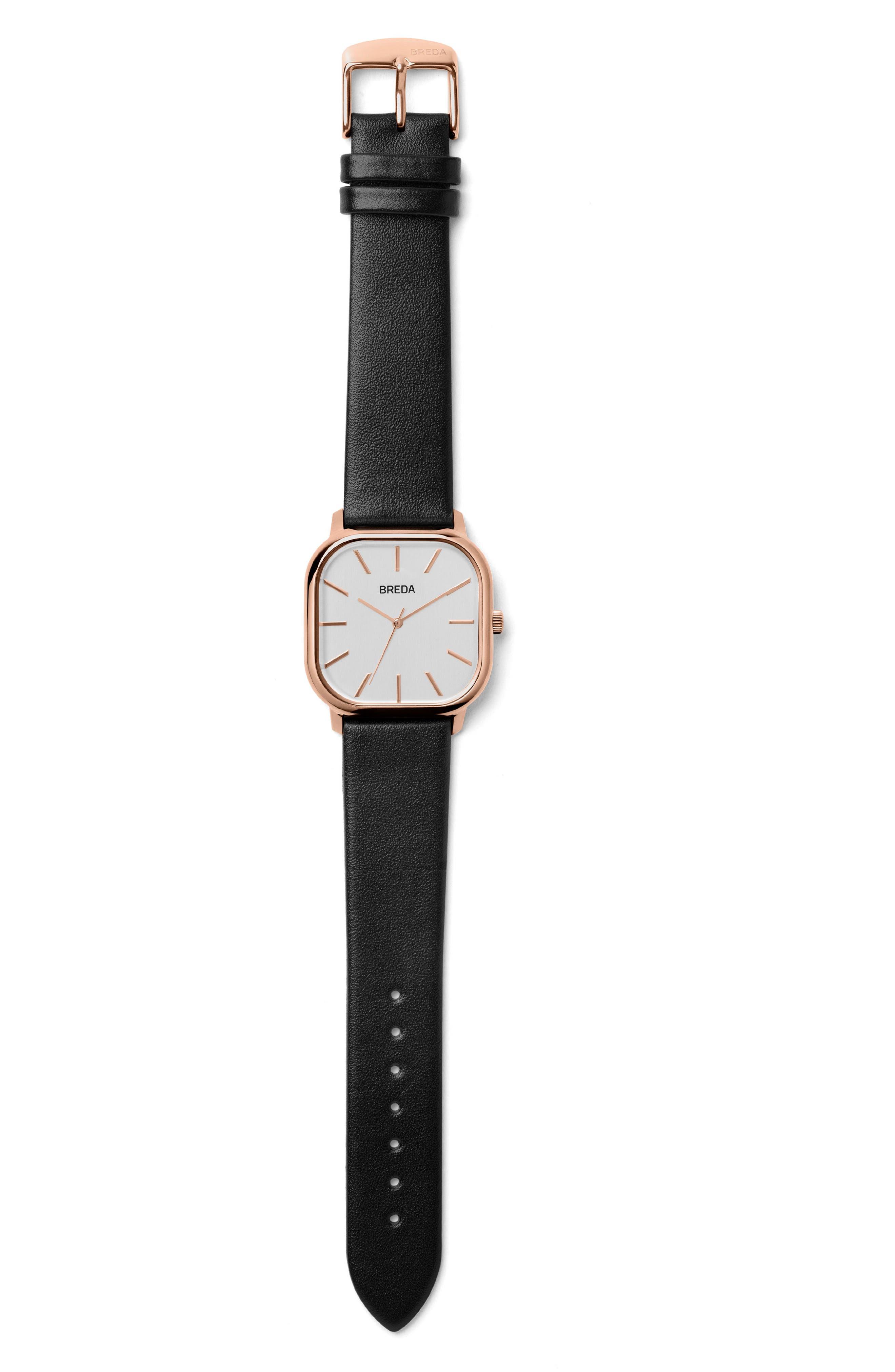 Visser Square Leather Strap Watch, 35mm,                             Alternate thumbnail 3, color,                             001