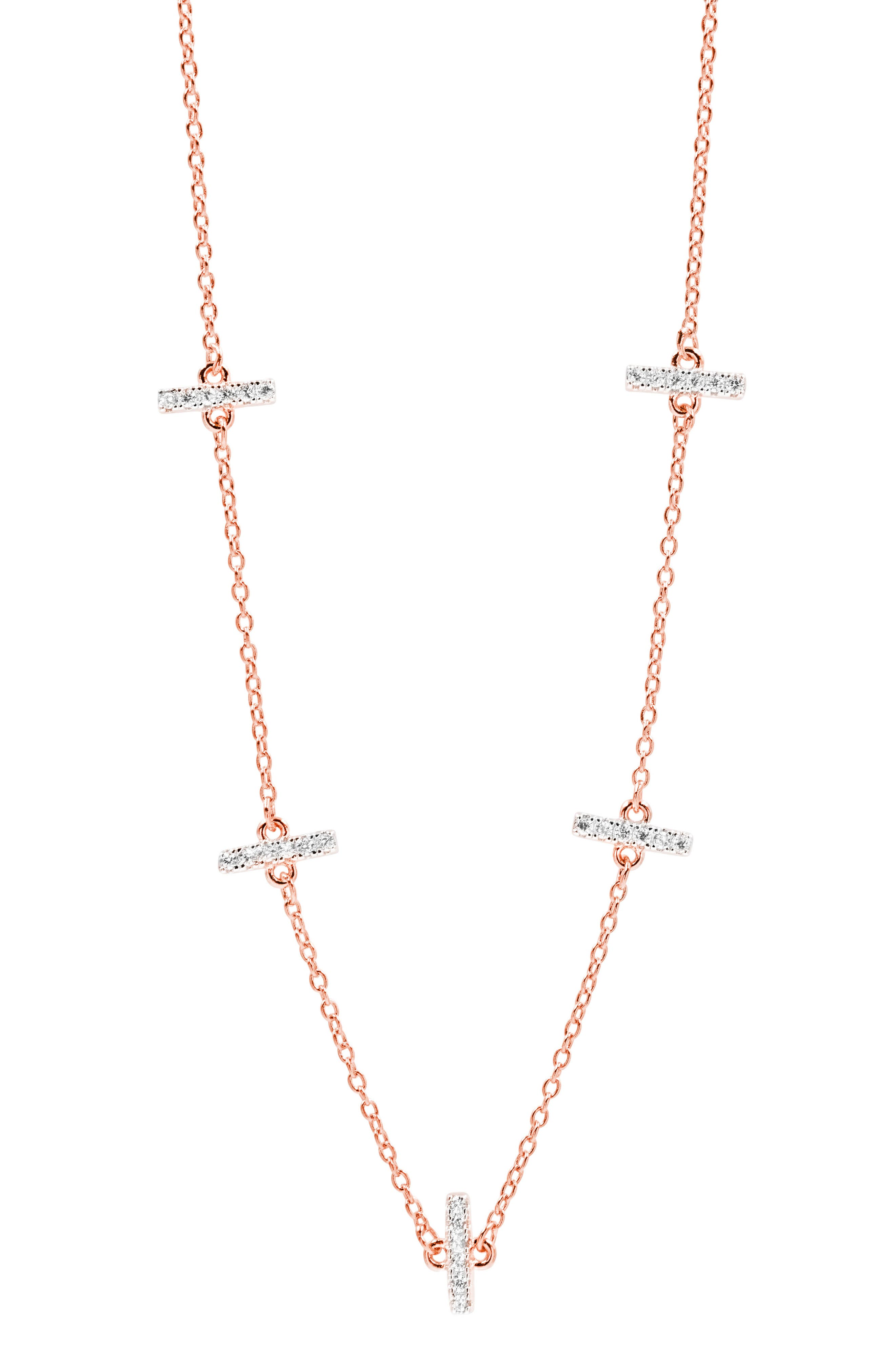 Radiance Crystal Station Necklace,                         Main,                         color, ROSE/ SILVER