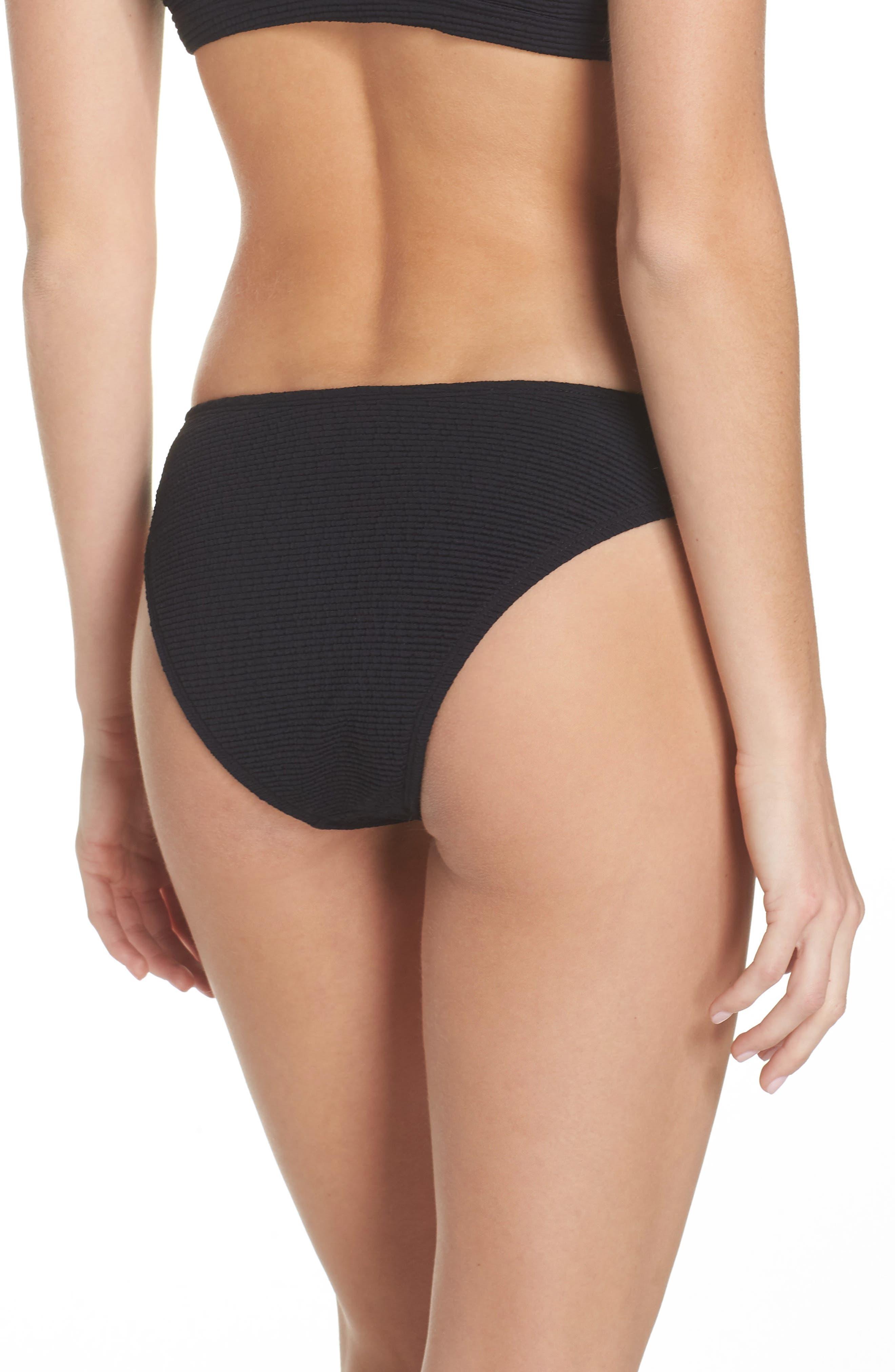 Malibu High Leg Bikini Bottoms,                             Alternate thumbnail 2, color,                             BLACK