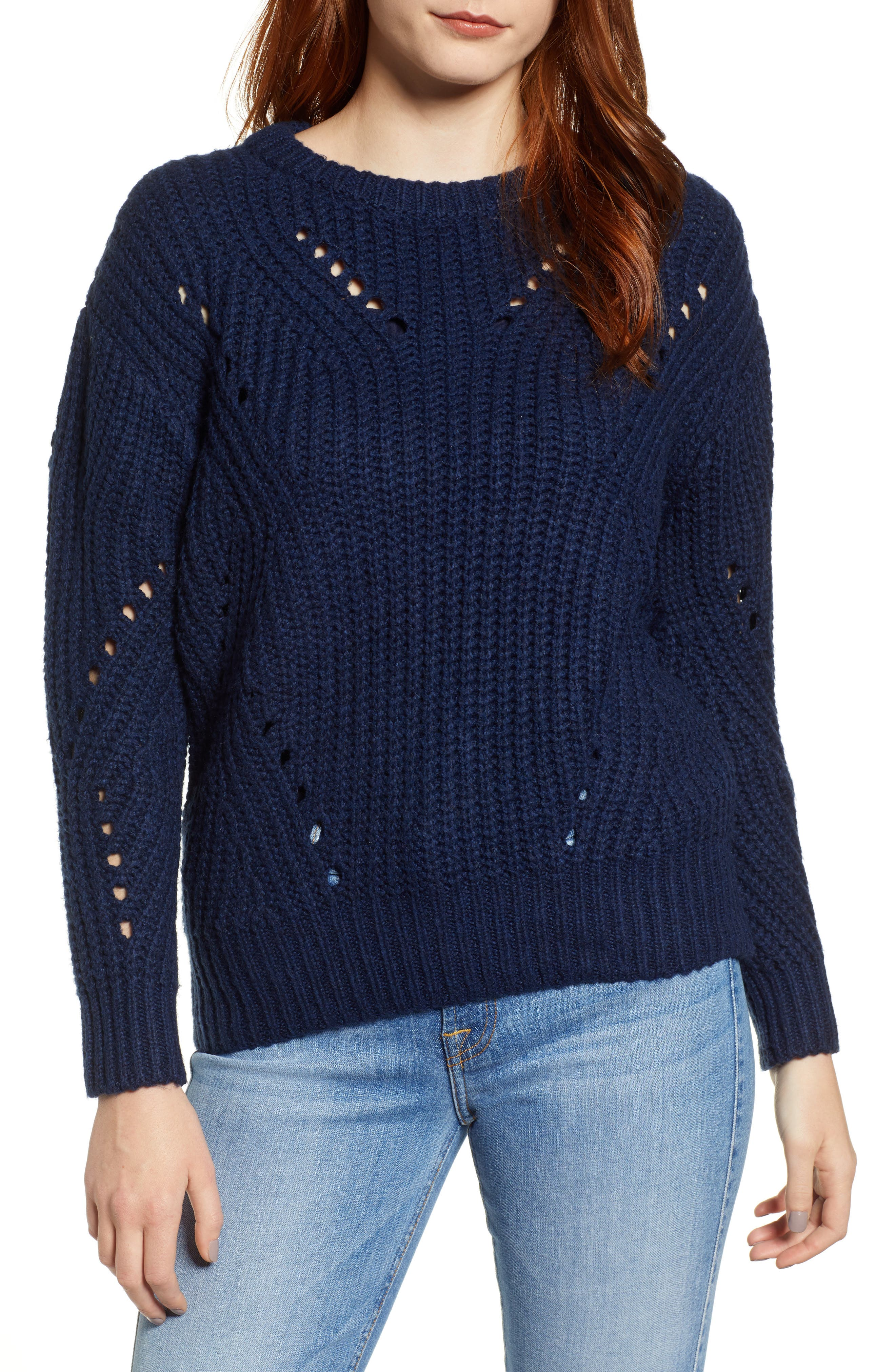 Rib Pointelle Detail Cotton Blend Sweater,                         Main,                         color, CLASSIC NAVY