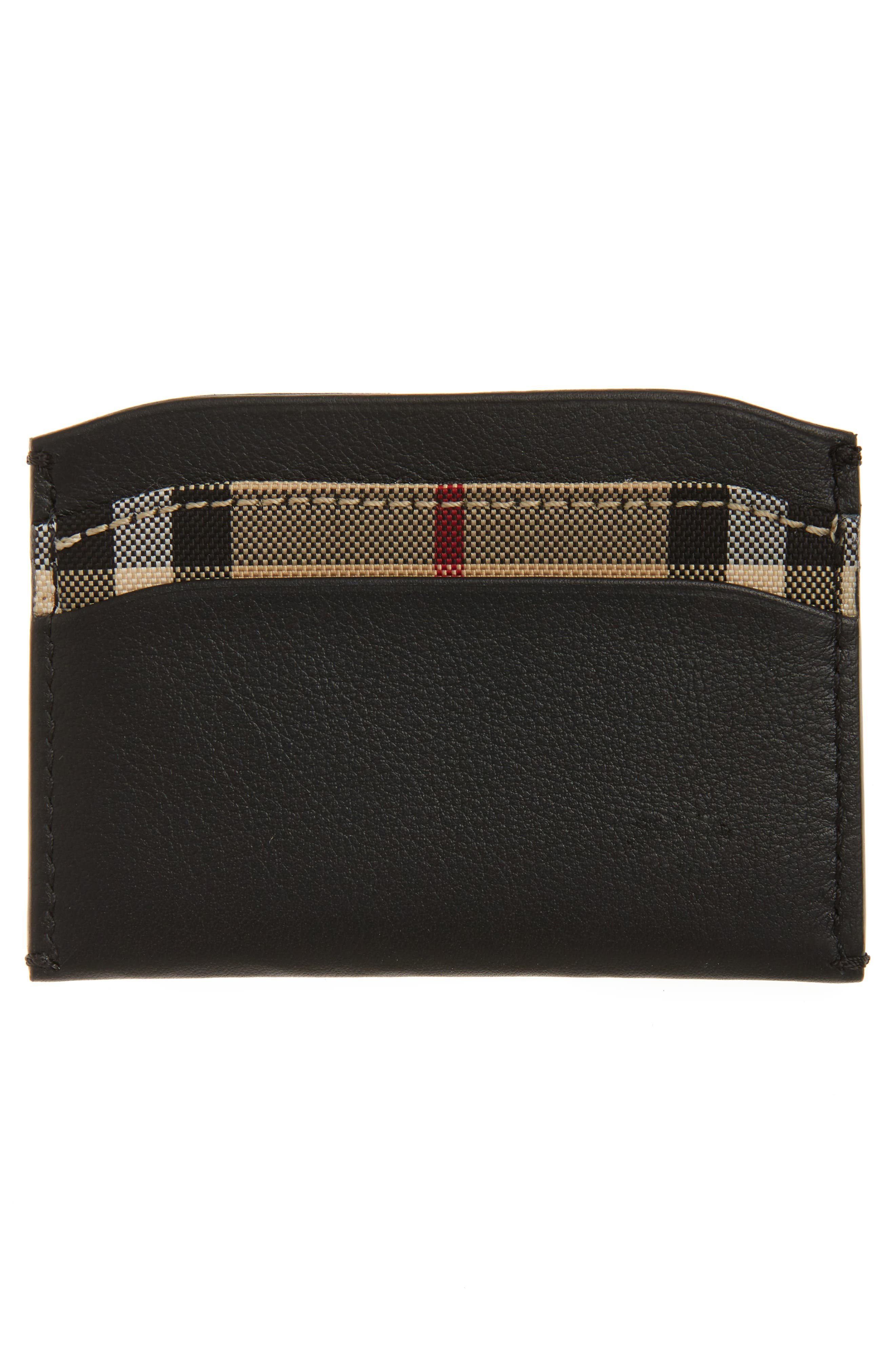 Izzy Check & Leather Card Case,                             Alternate thumbnail 2, color,                             001
