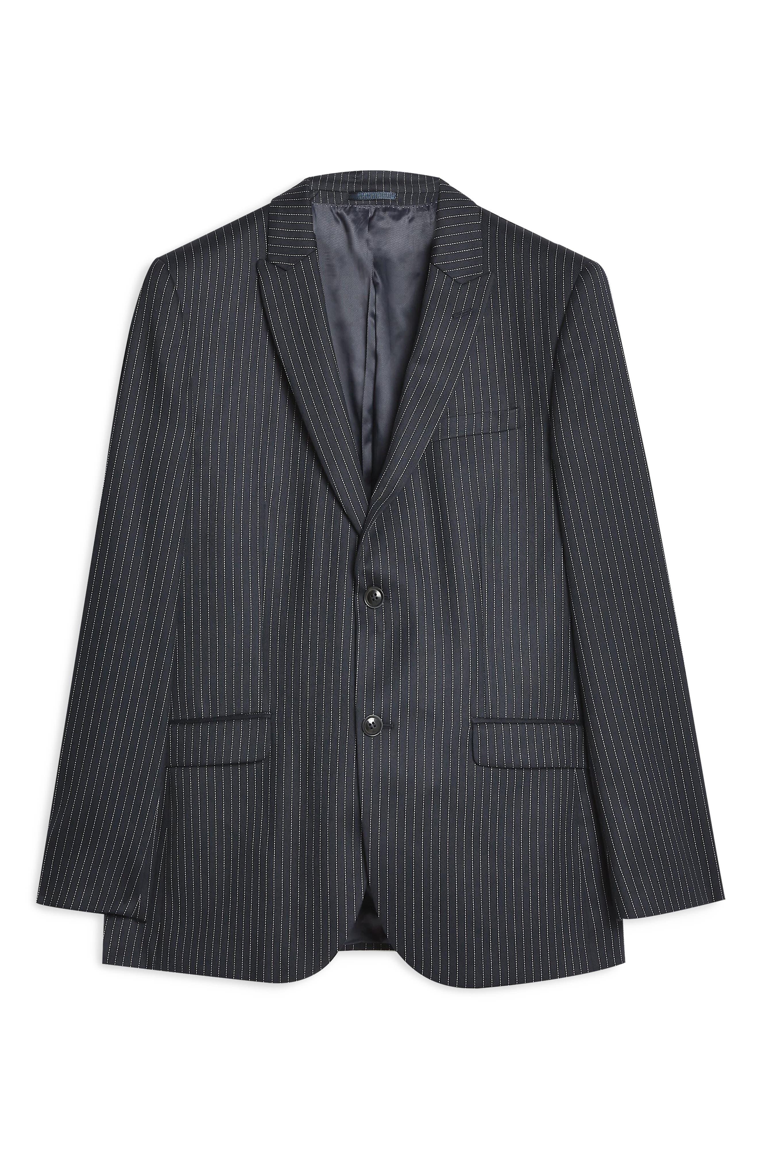 Tailored Pinstripe Suit Jacket,                             Alternate thumbnail 4, color,                             NAVY BLUE