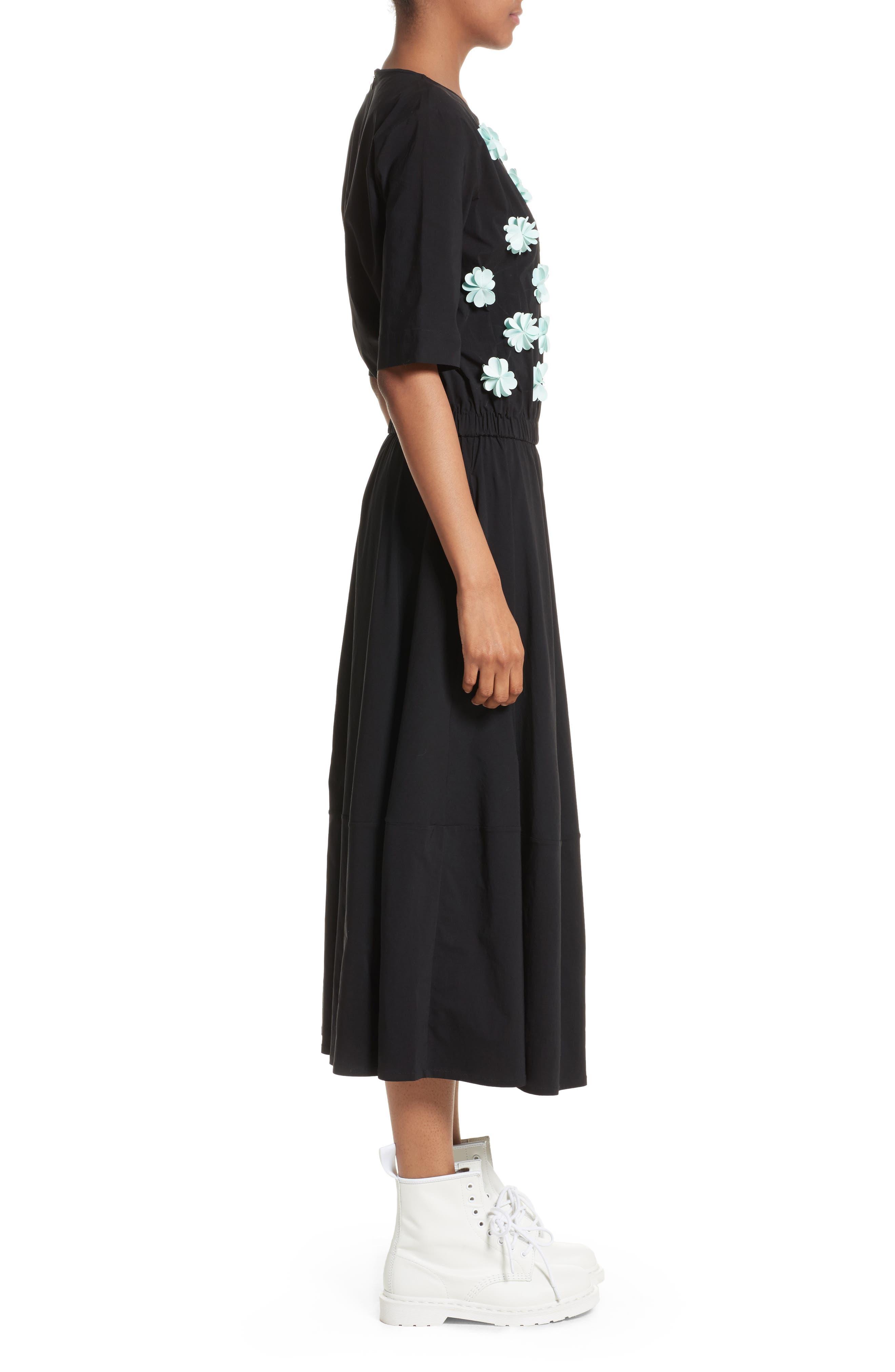 Floral Appliqué Dress,                             Alternate thumbnail 3, color,                             001