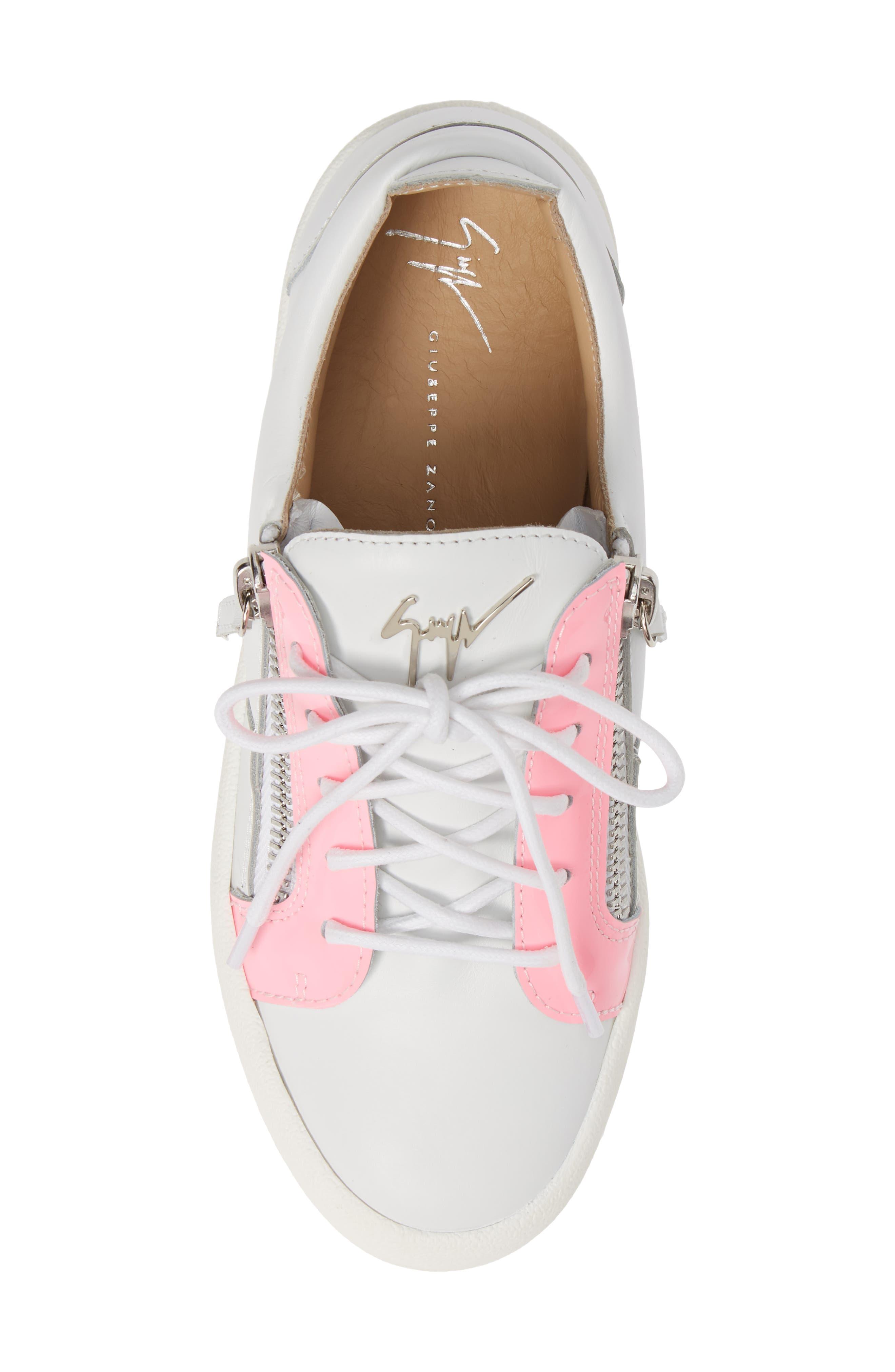 Low Top Sneaker,                             Alternate thumbnail 5, color,                             WHITE/ FUCHSIA