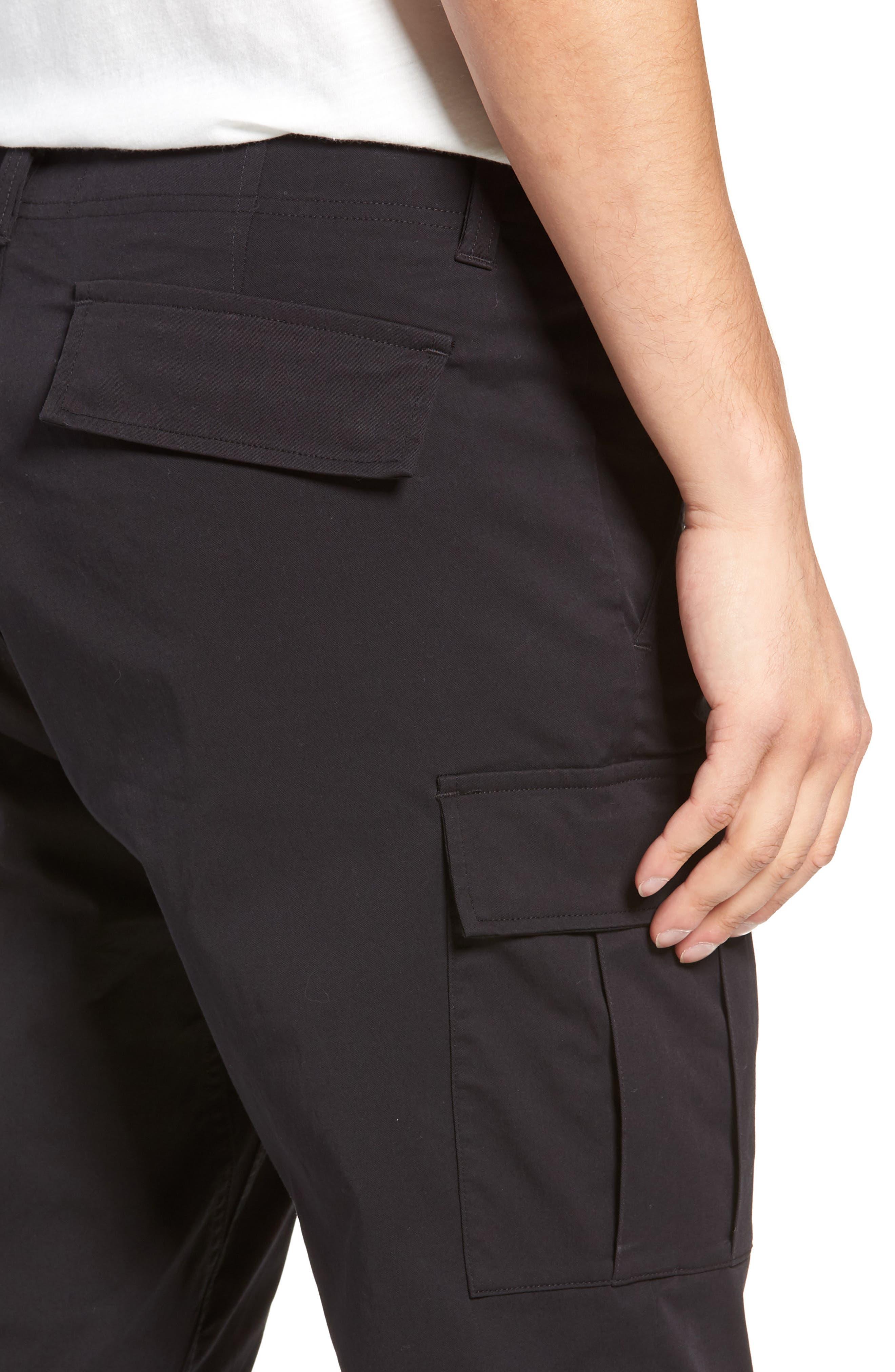 Cordura Slim Fit Cargo Pants,                             Alternate thumbnail 4, color,                             BLACK