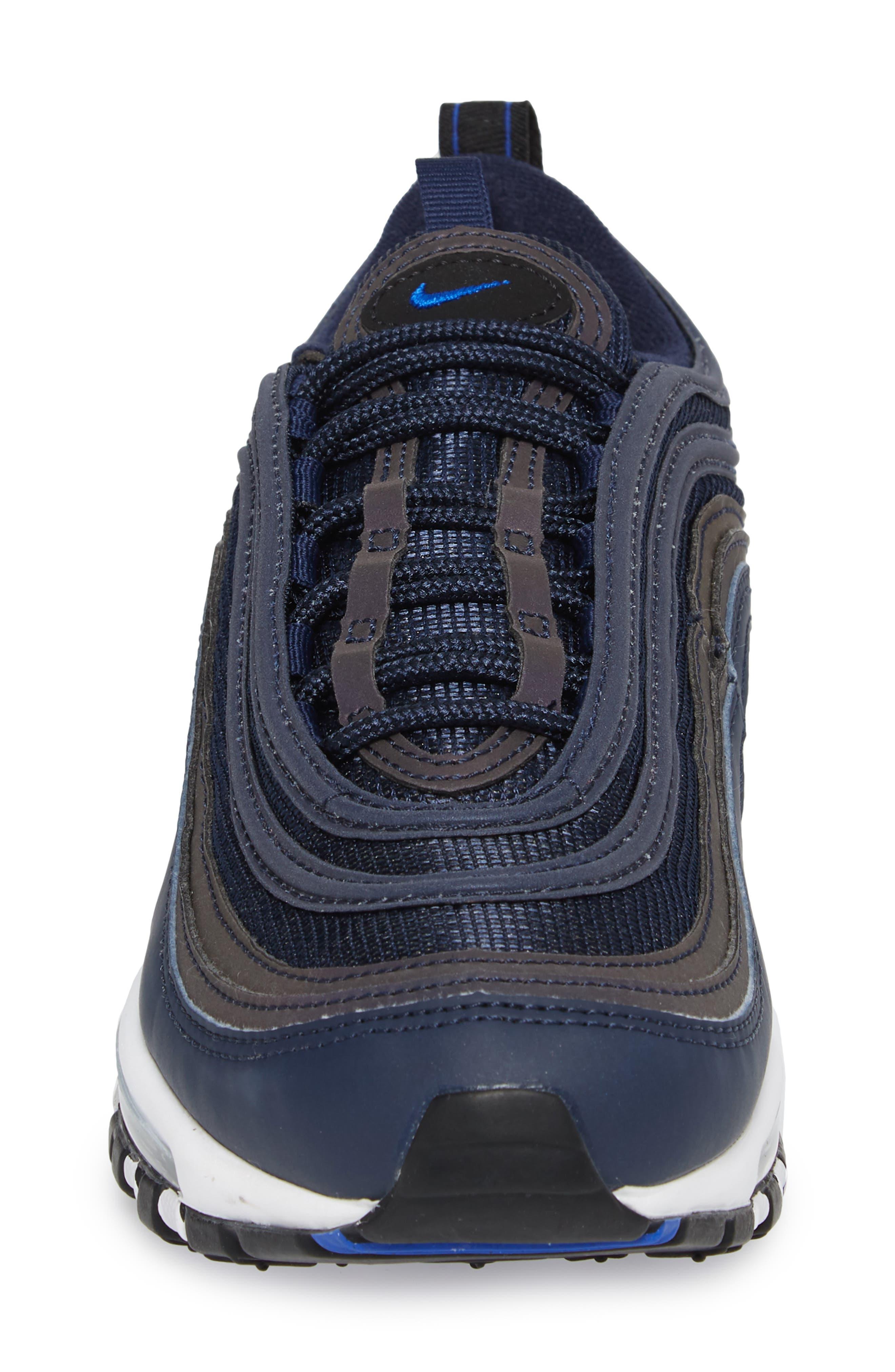 Air Max 97 Sneaker,                             Alternate thumbnail 4, color,                             OBSIDIAN/ WHITE/ BLACK