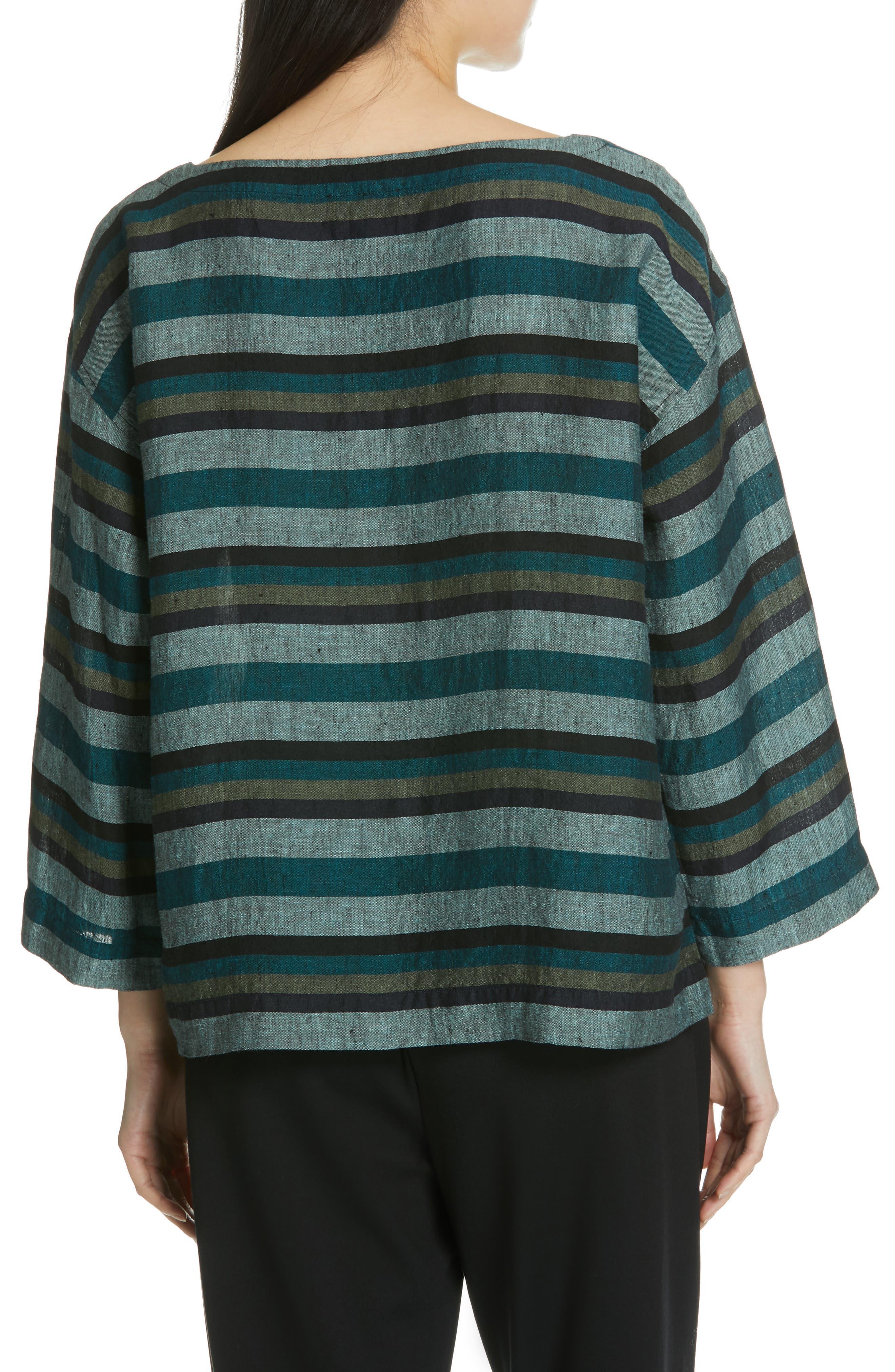 Stripe Organic Linen Top,                             Alternate thumbnail 2, color,                             TEAL
