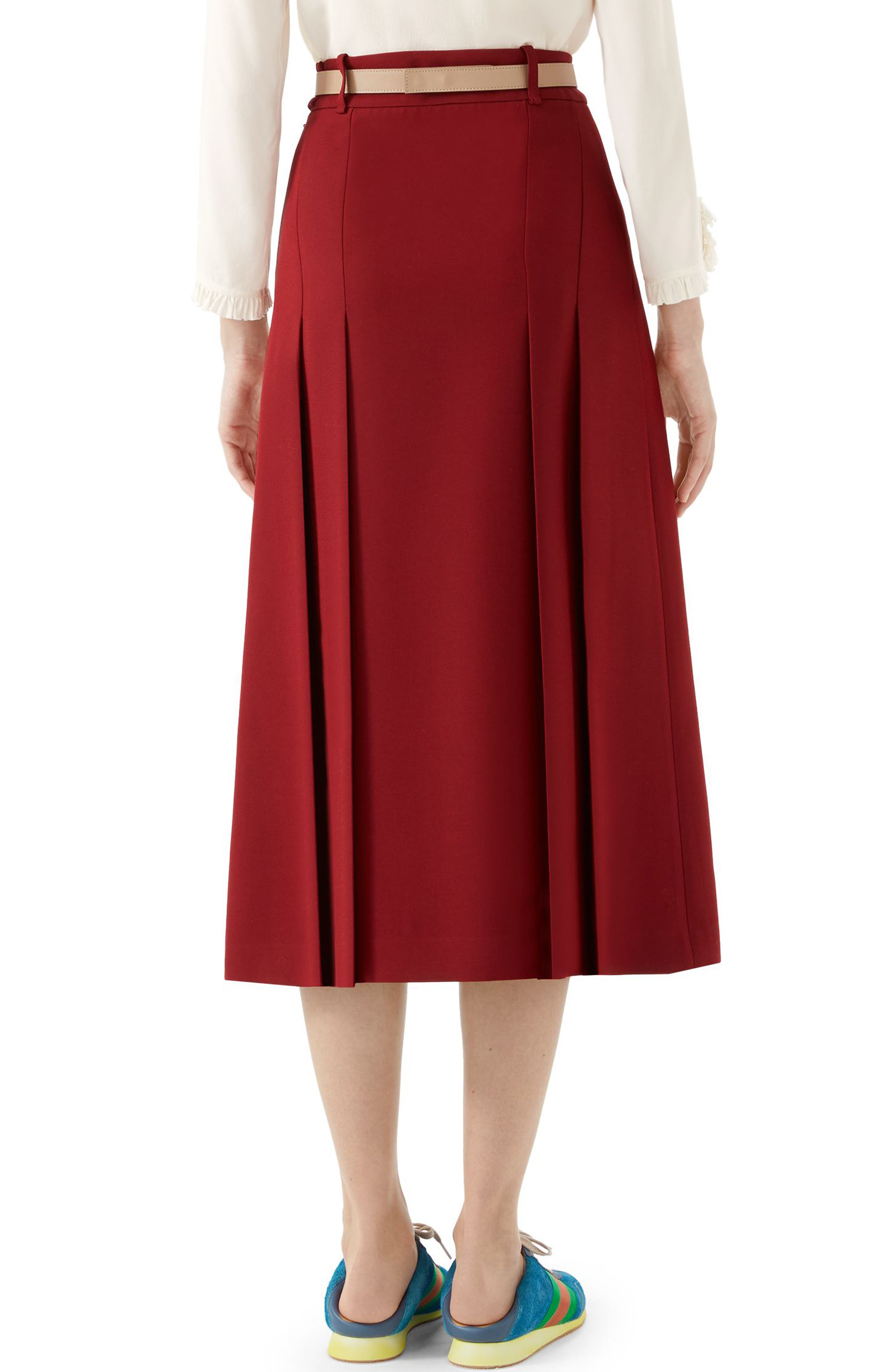 GUCCI,                             Logo Belt Pleated Midi Skirt,                             Alternate thumbnail 2, color,                             REAL MAGENTA