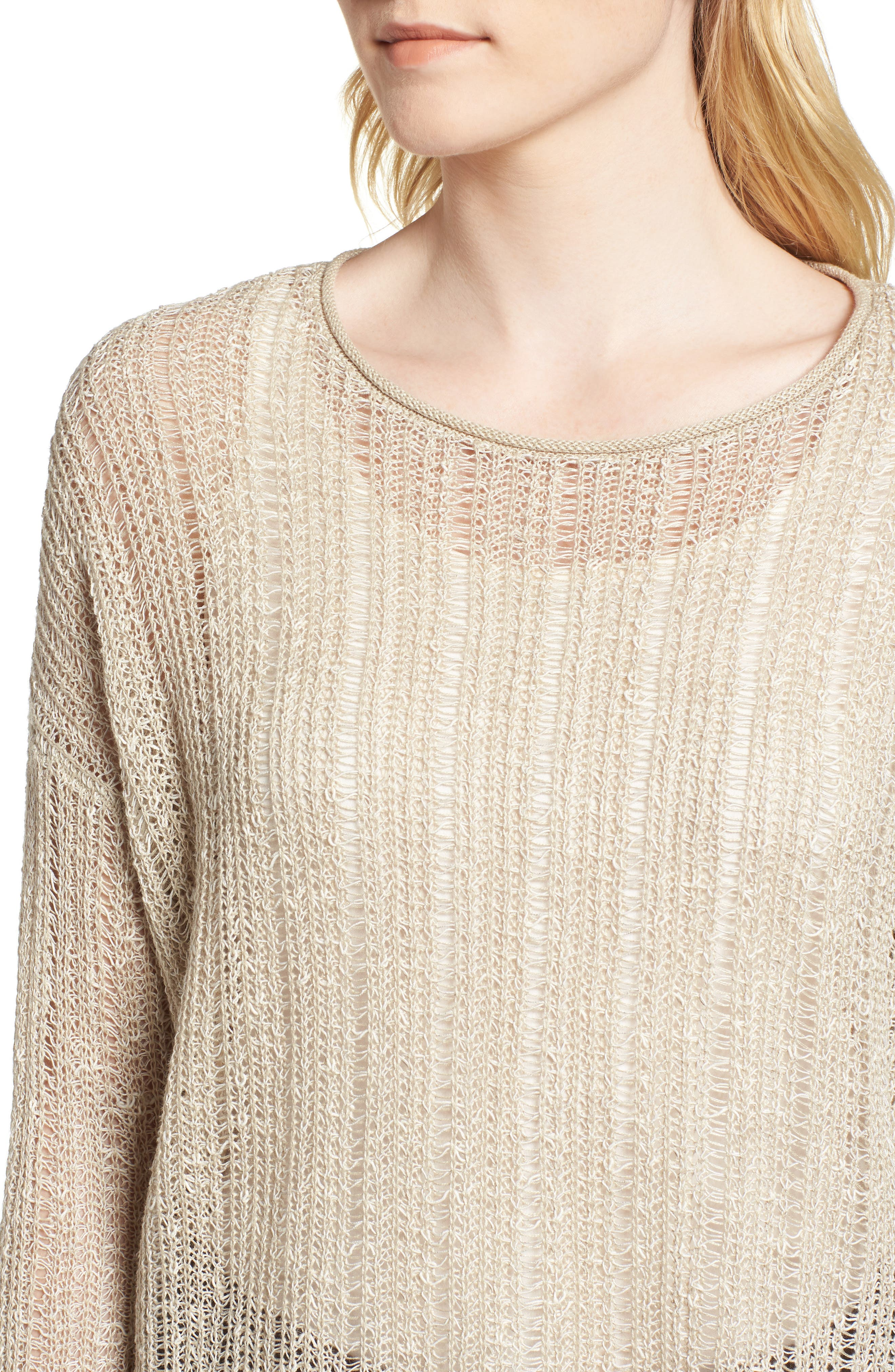Open Knit Organic Linen Blend Sweater,                             Alternate thumbnail 12, color,