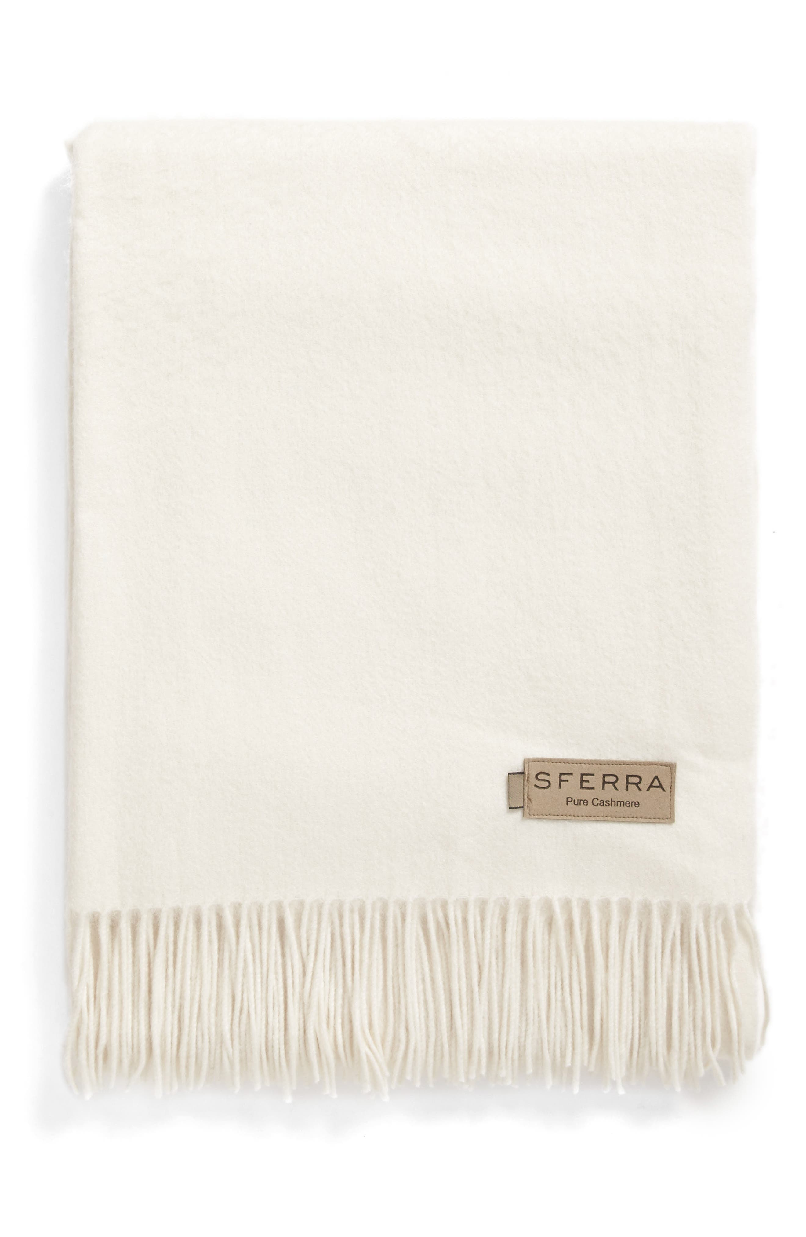 Dorsey Throw in IVORY cashmere blanket