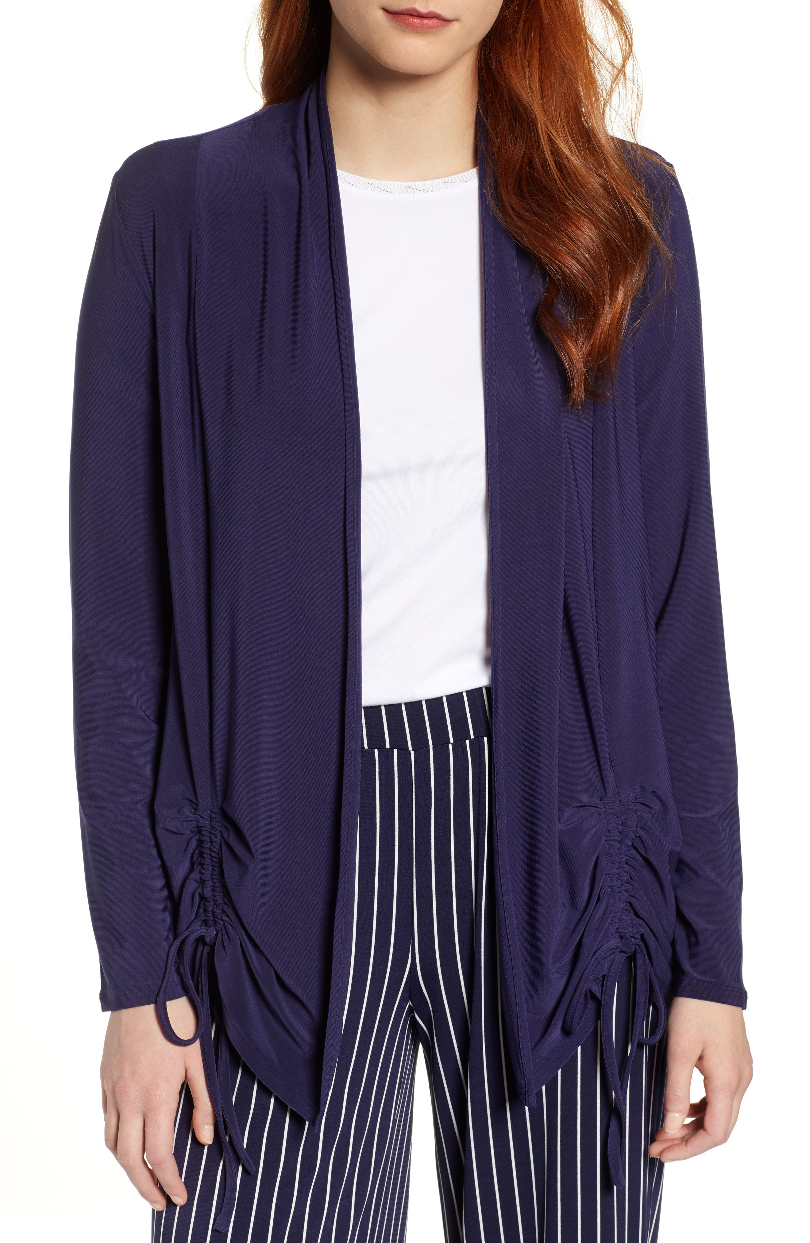 Chaus Ruched Cardigan, Blue