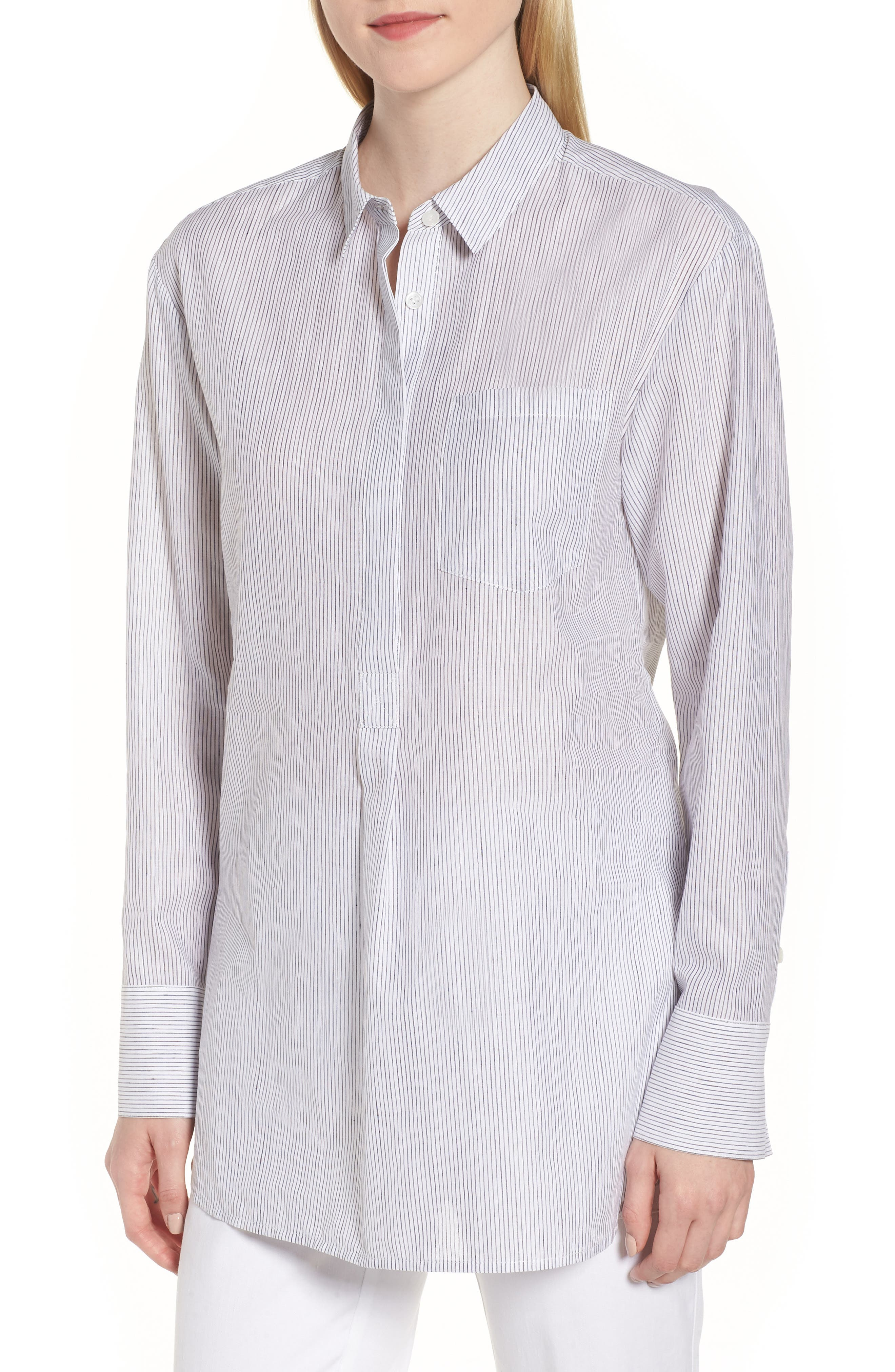 Stripe Popover Shirt,                             Main thumbnail 1, color,                             100