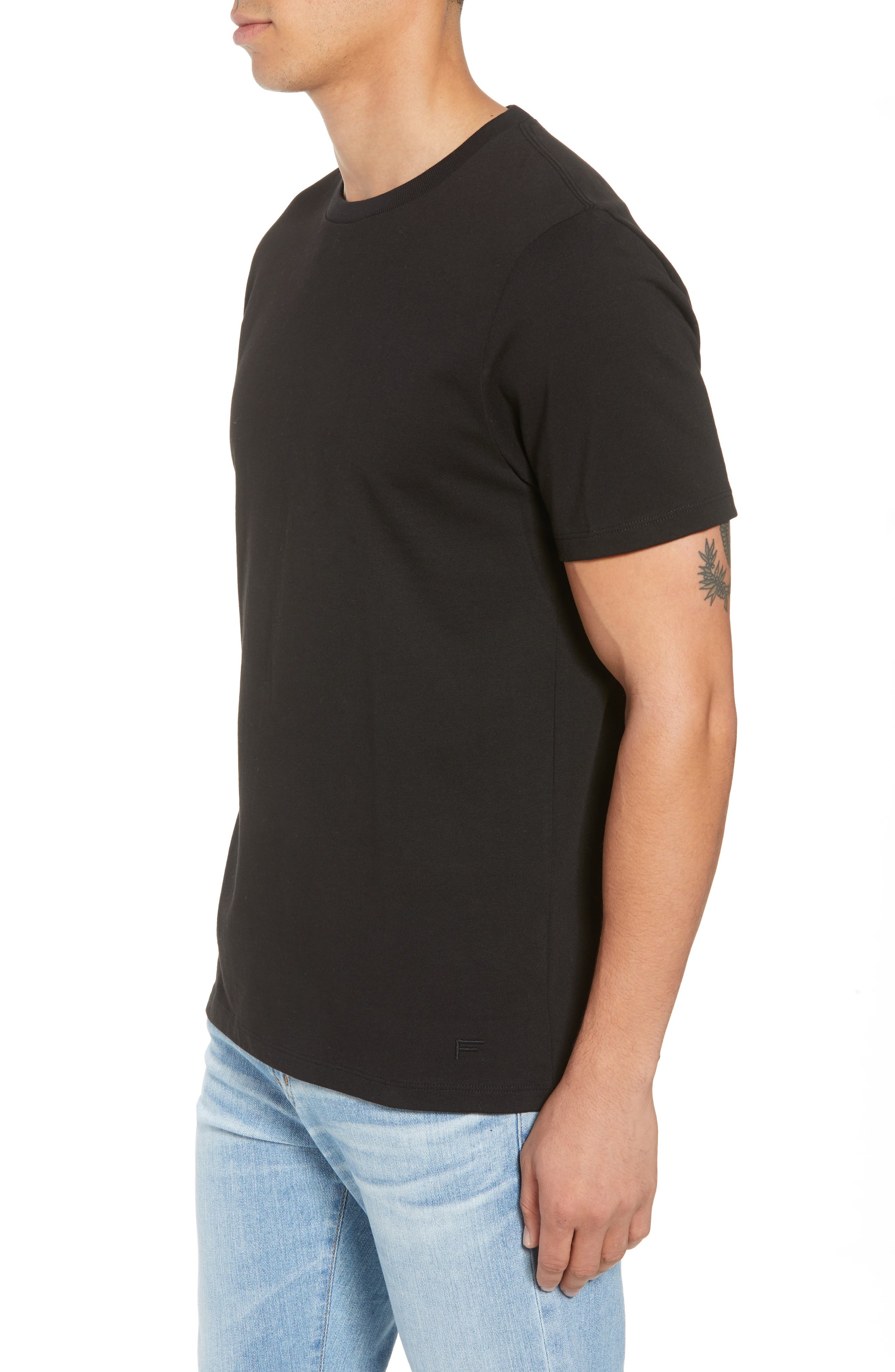 Classic Fit Cotton T-Shirt,                             Alternate thumbnail 3, color,                             NOIR