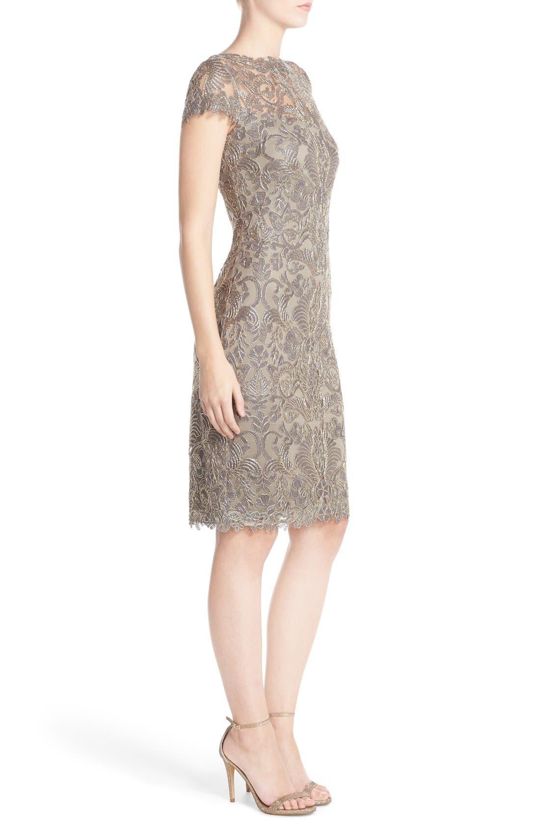 Illusion Yoke Lace Sheath Dress,                             Alternate thumbnail 45, color,