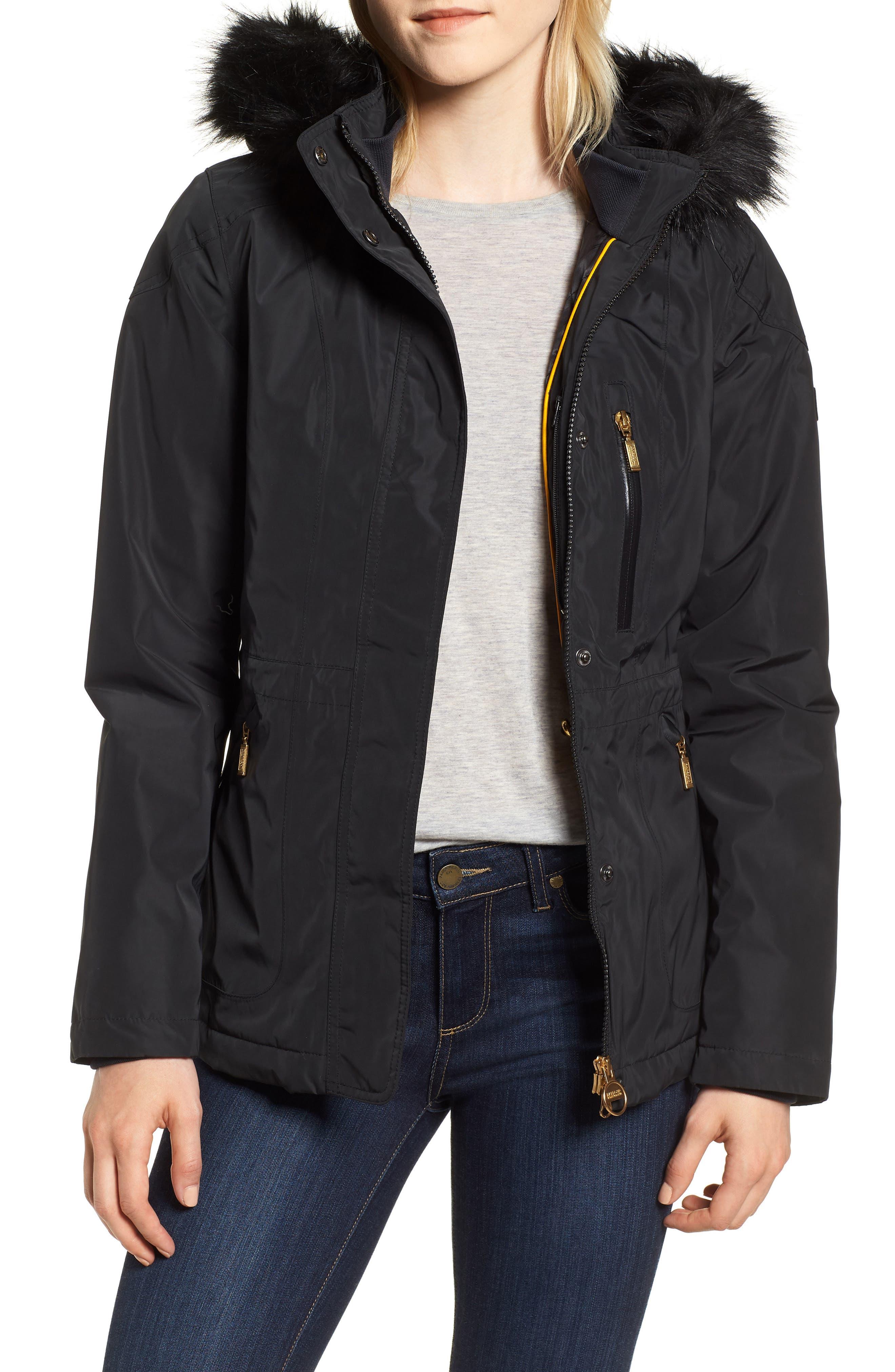 BARBOUR International Aragon Waterproof Breathable Faux Fur Trim Jacket, Main, color, 001