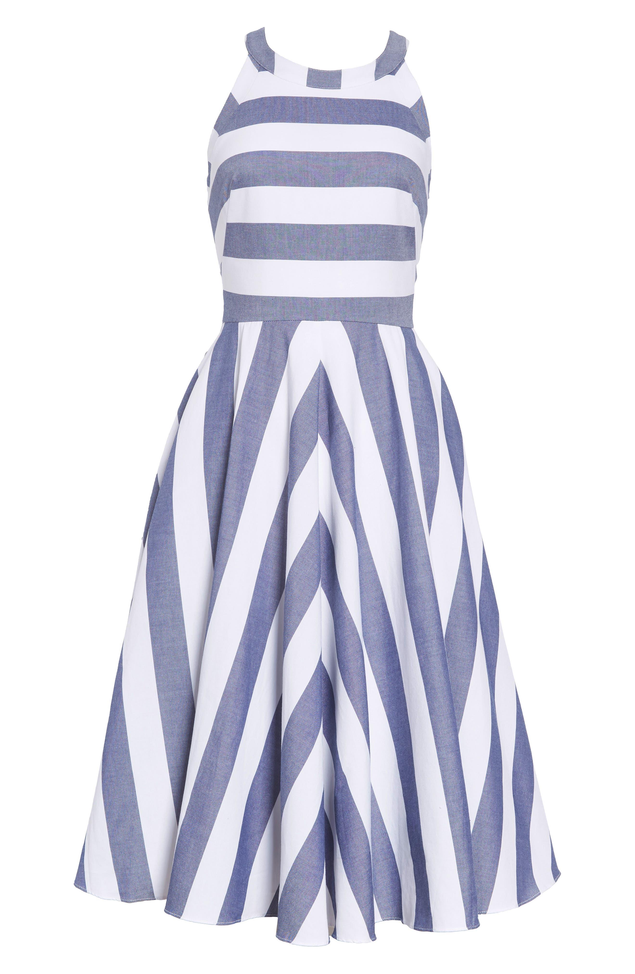 Cotton Fit & Flare Dress,                             Alternate thumbnail 2, color,                             BLUE/ IVORY