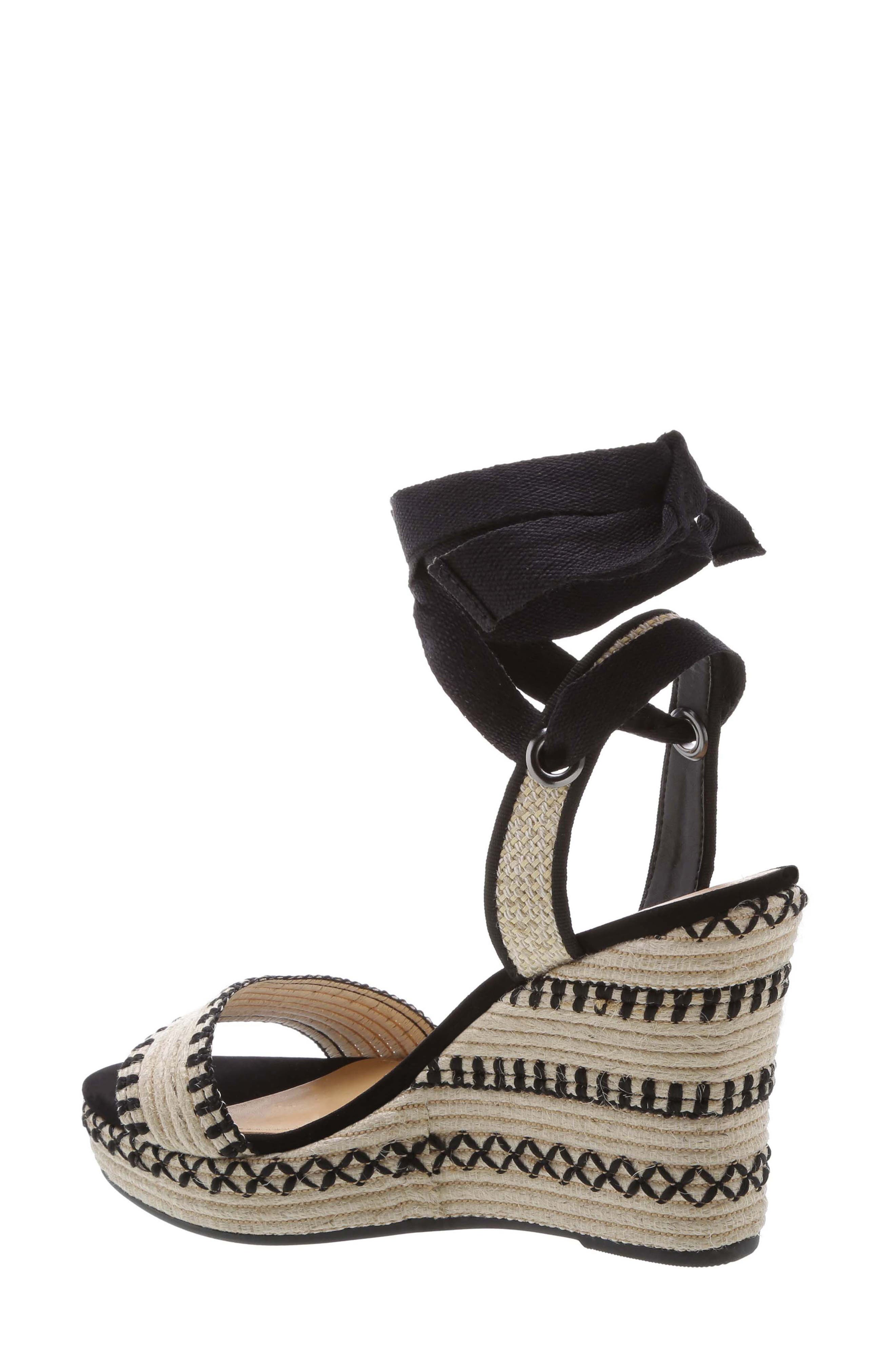 Electra Platform Wedge Sandal,                             Alternate thumbnail 2, color,                             NATURAL BLACK FABRIC