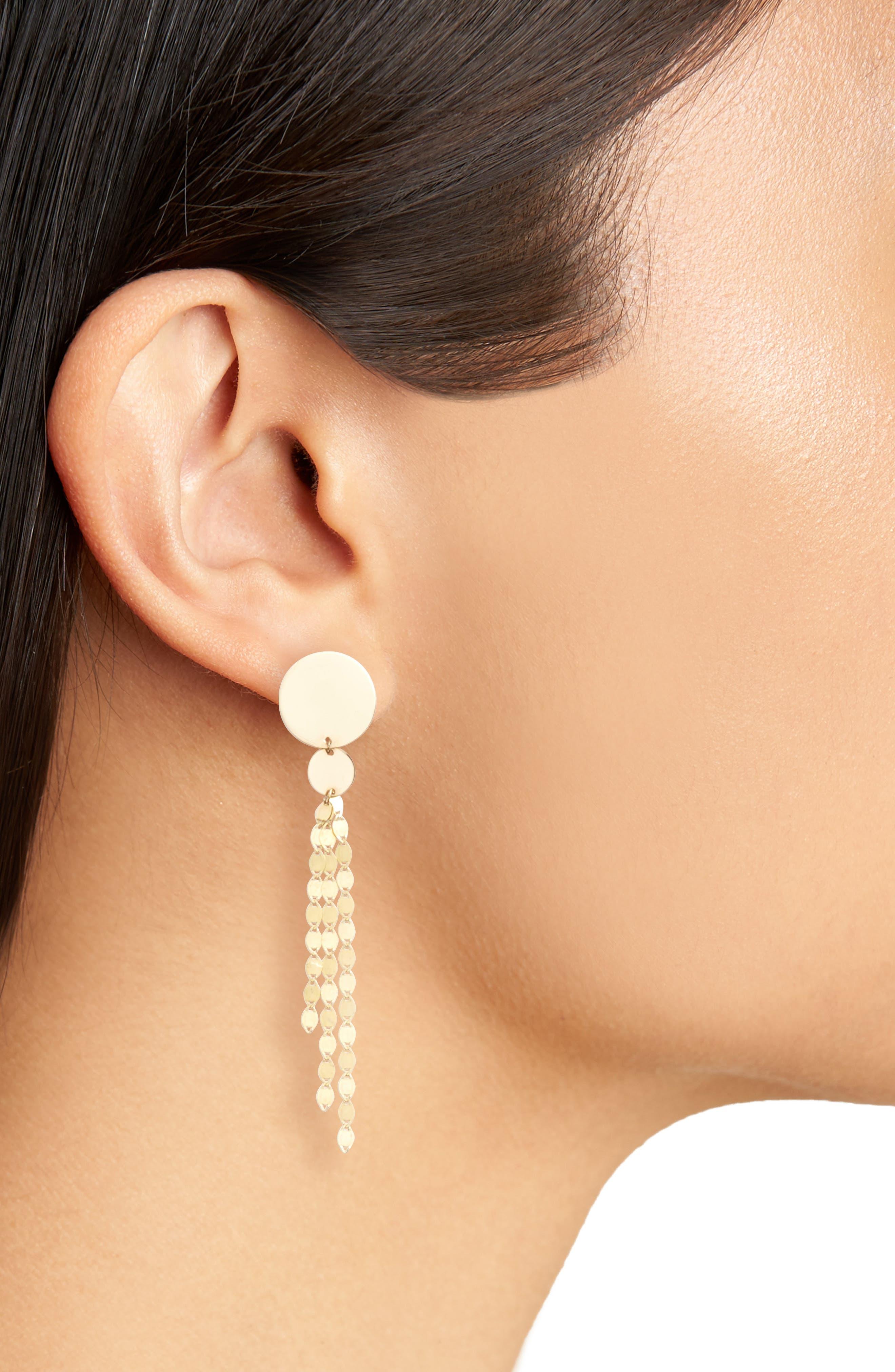 Disc Drop Earrings,                             Alternate thumbnail 2, color,                             YELLOW GOLD