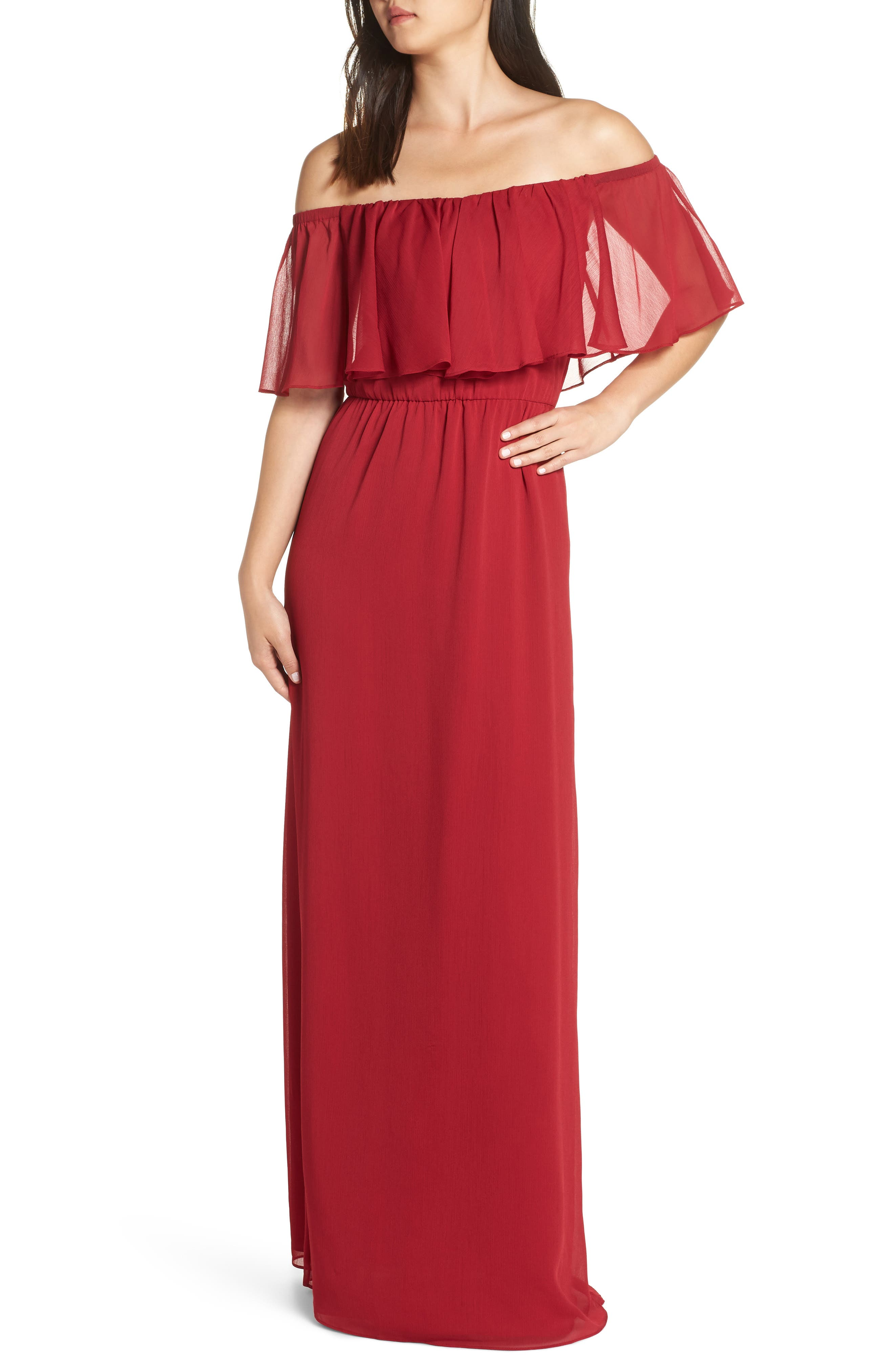 WAYF Off The Shoulder Ruffle Popover Gown in Scarlett