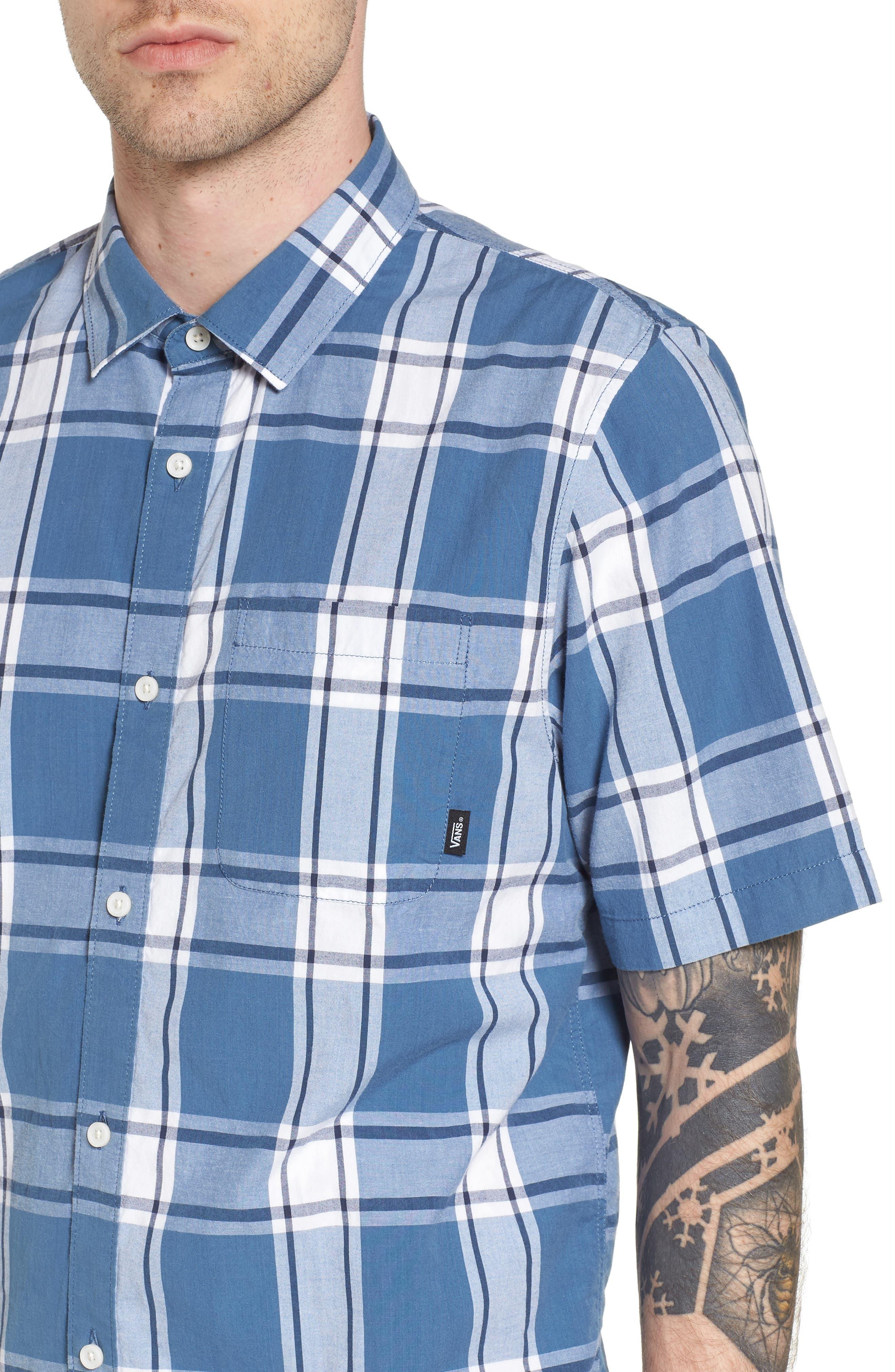 Mayfield Short Sleeve Plaid Shirt,                             Alternate thumbnail 4, color,                             420