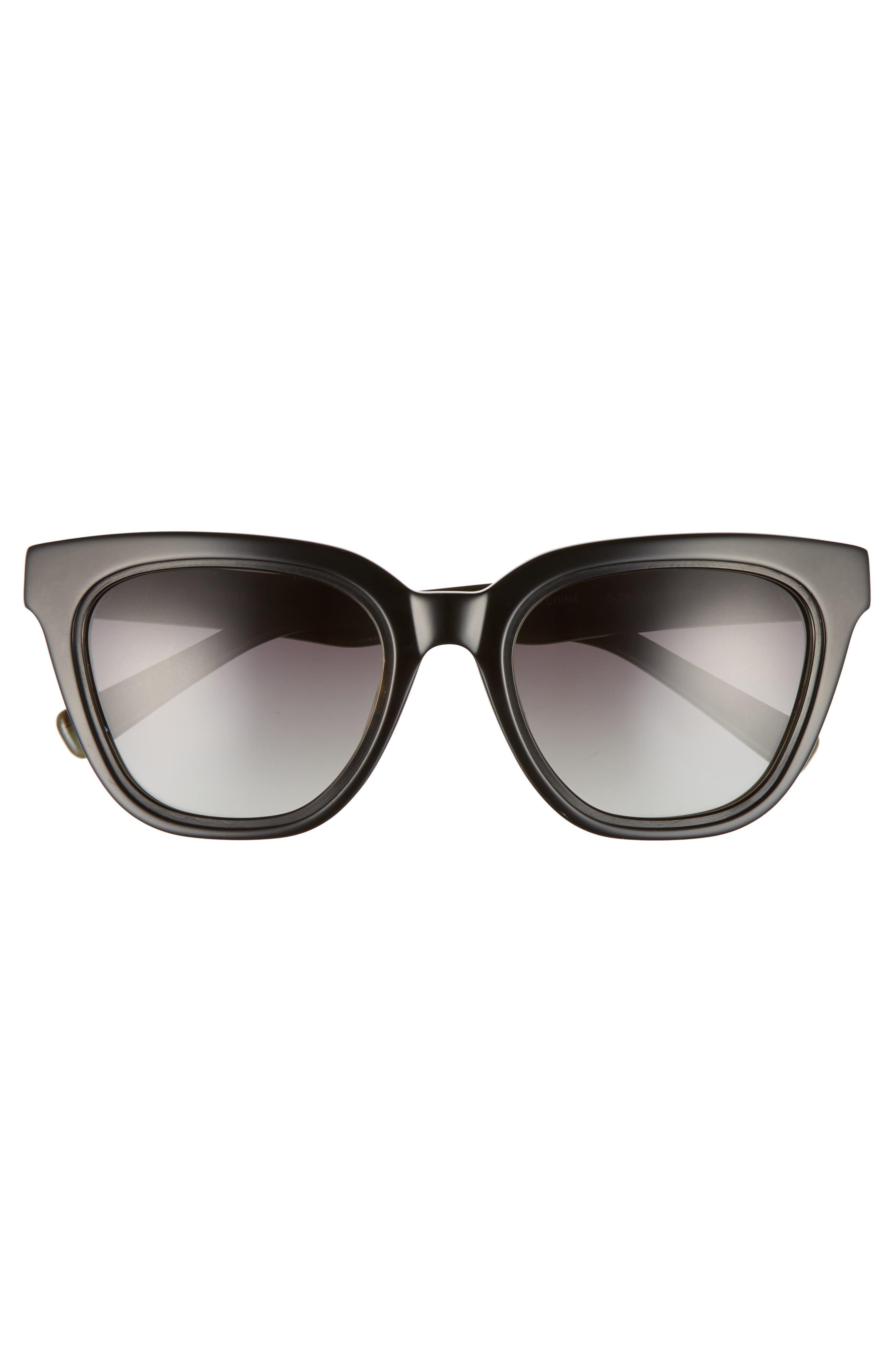 54mm Rectangular Cat Eye Sunglasses,                             Alternate thumbnail 3, color,                             001