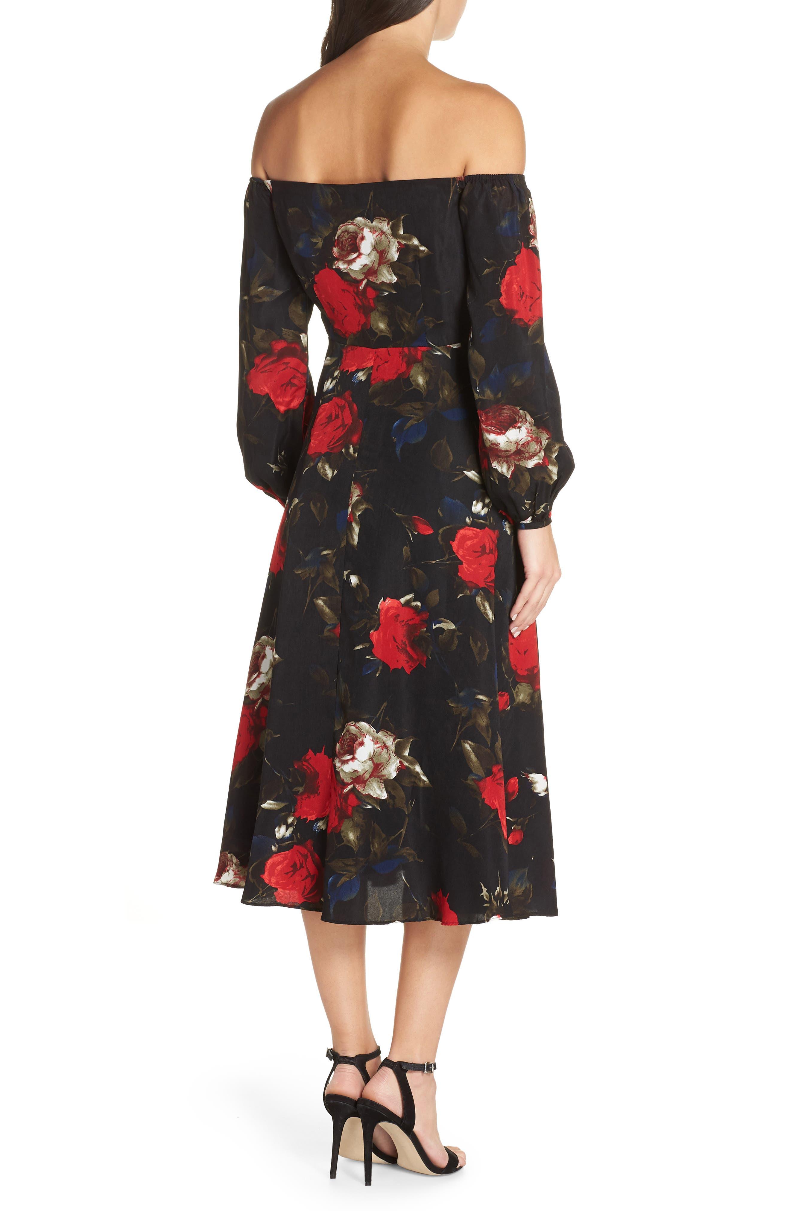 Off the Shoulder Midi Dress,                             Alternate thumbnail 3, color,                             BLACK LUSH ROSE FLORAL
