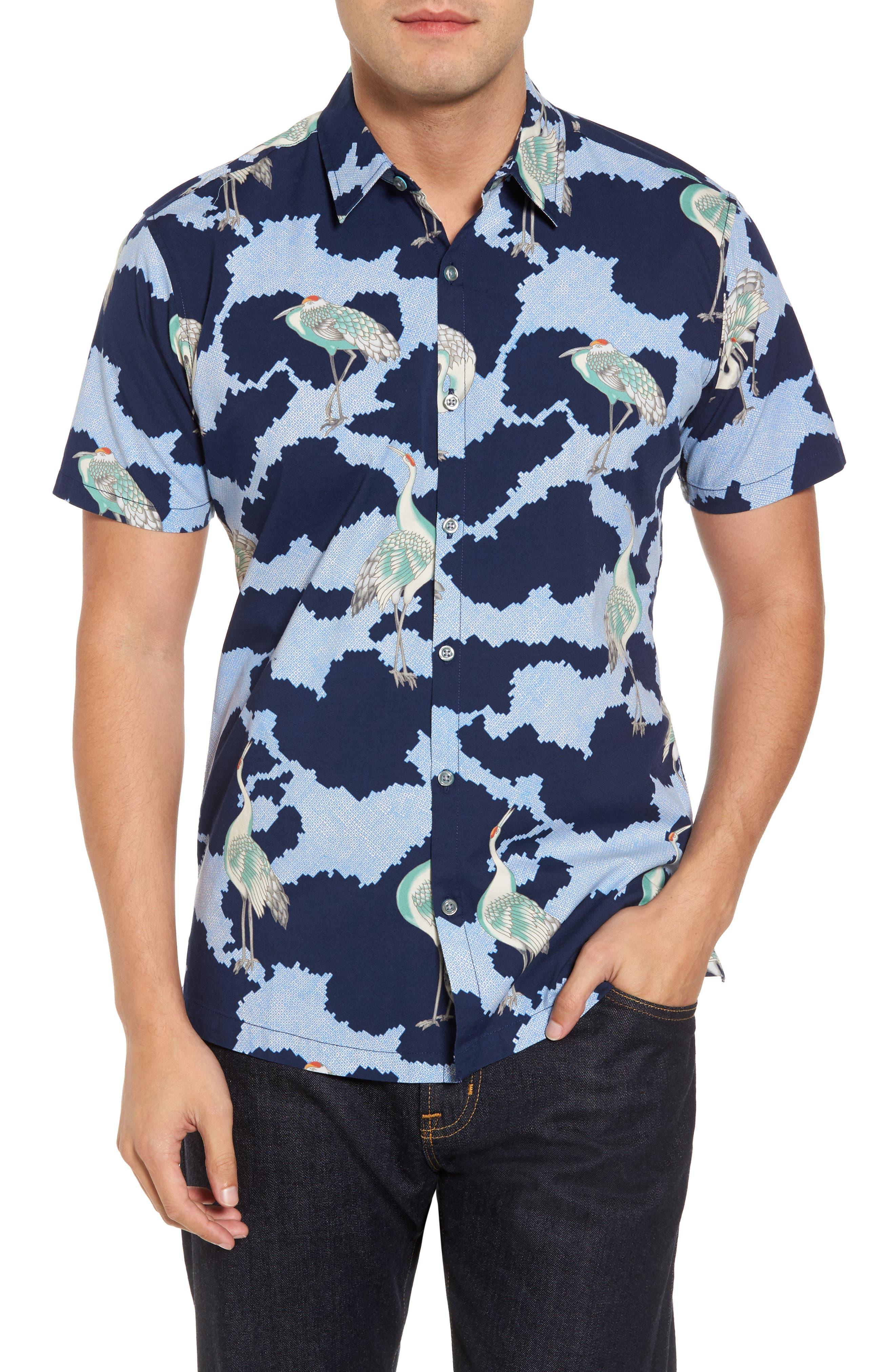 1000 Cranes Classic Fit Print Sport Shirt,                             Main thumbnail 1, color,                             415