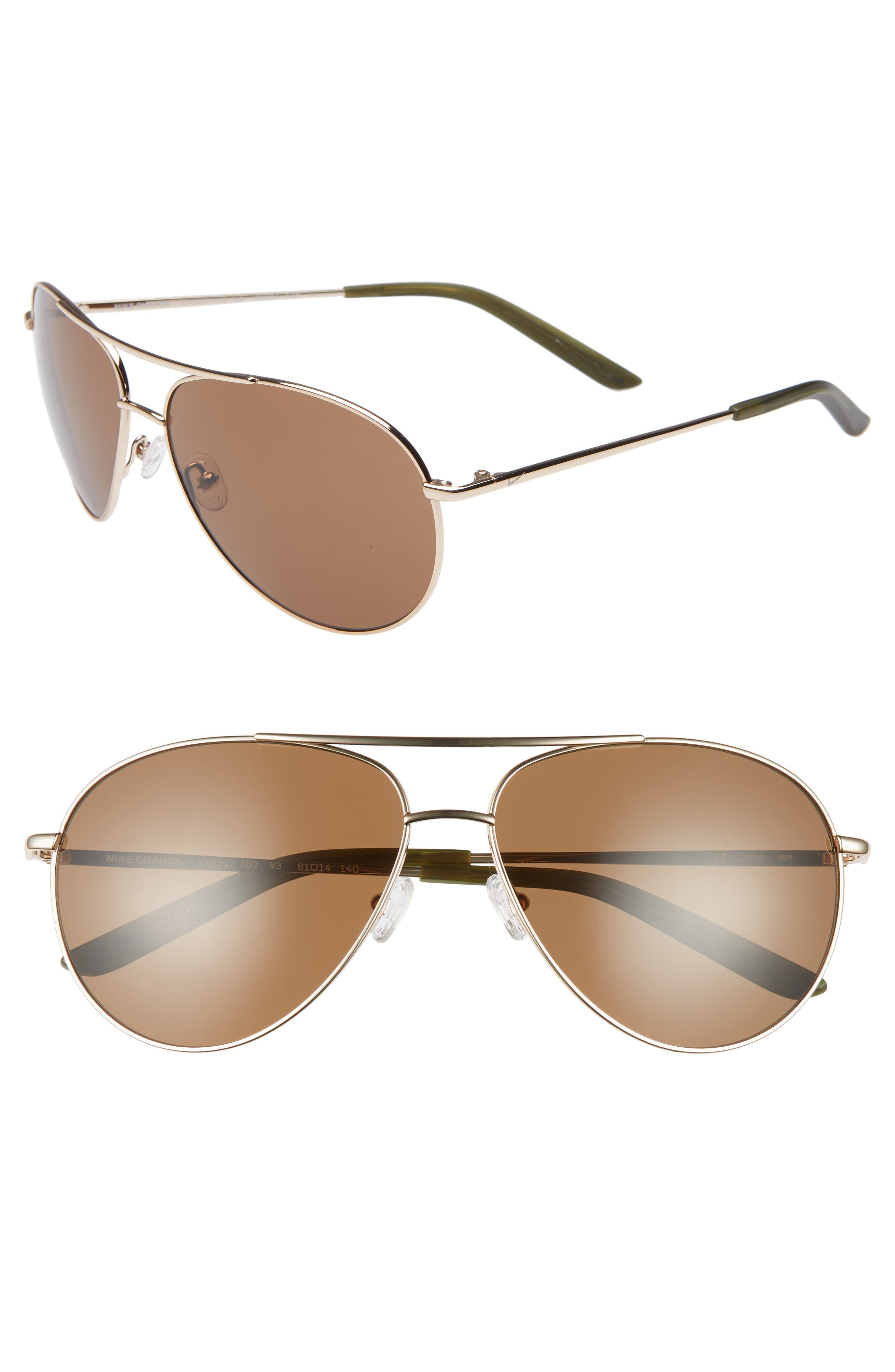 Nike Chance 61Mm Aviator Sunglasses - Light Gold/ Brown