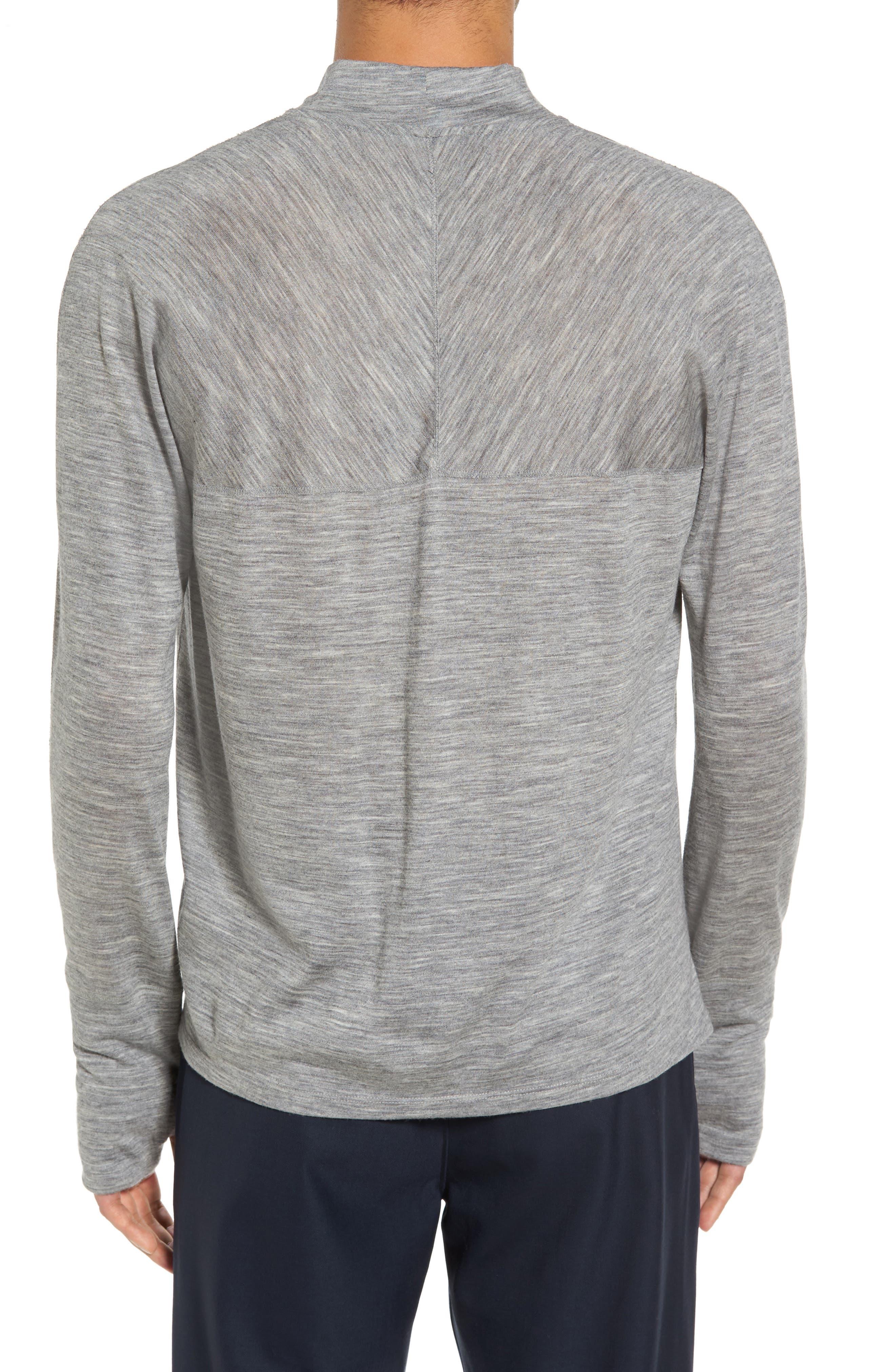 Mock Neck Thumbhole Wool T-Shirt,                             Alternate thumbnail 4, color,
