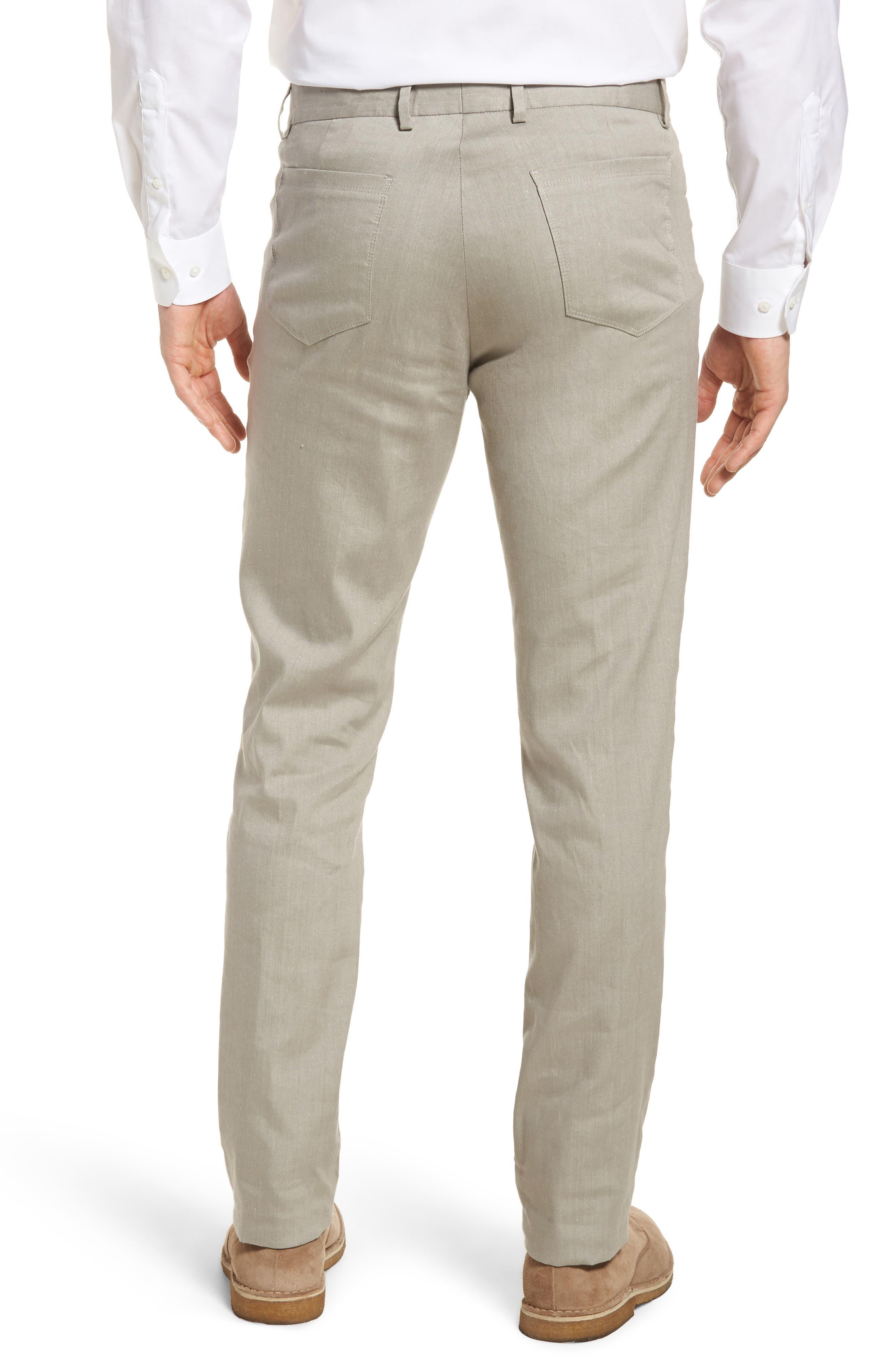 Flat Front Stretch Linen & Cotton Trousers,                             Alternate thumbnail 2, color,                             050
